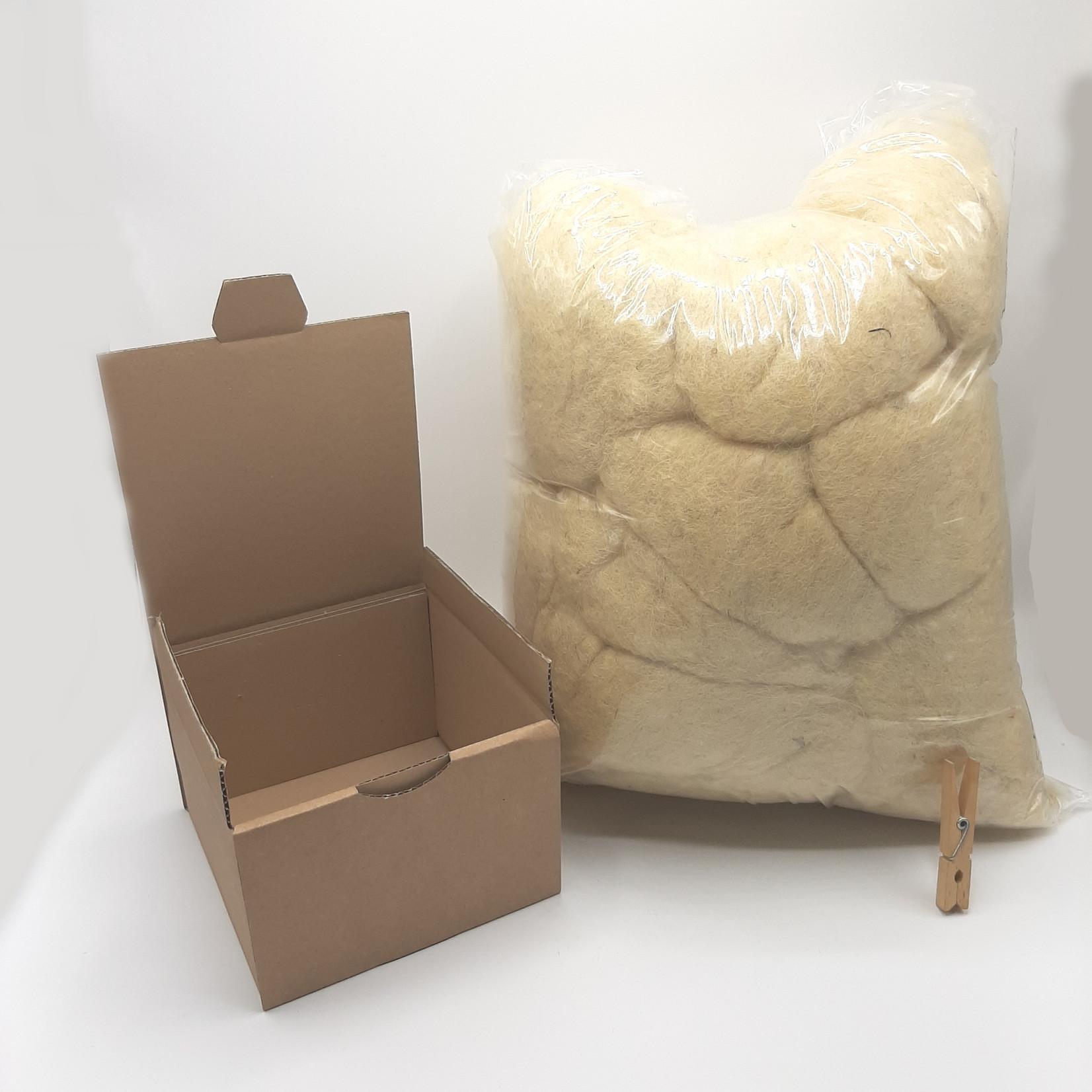 HollandWool vulwol 1000 gram - 100% wol - Nederlandse gewassen, gekaarde Schapenwol MELEE, licht ingevet, roomwit