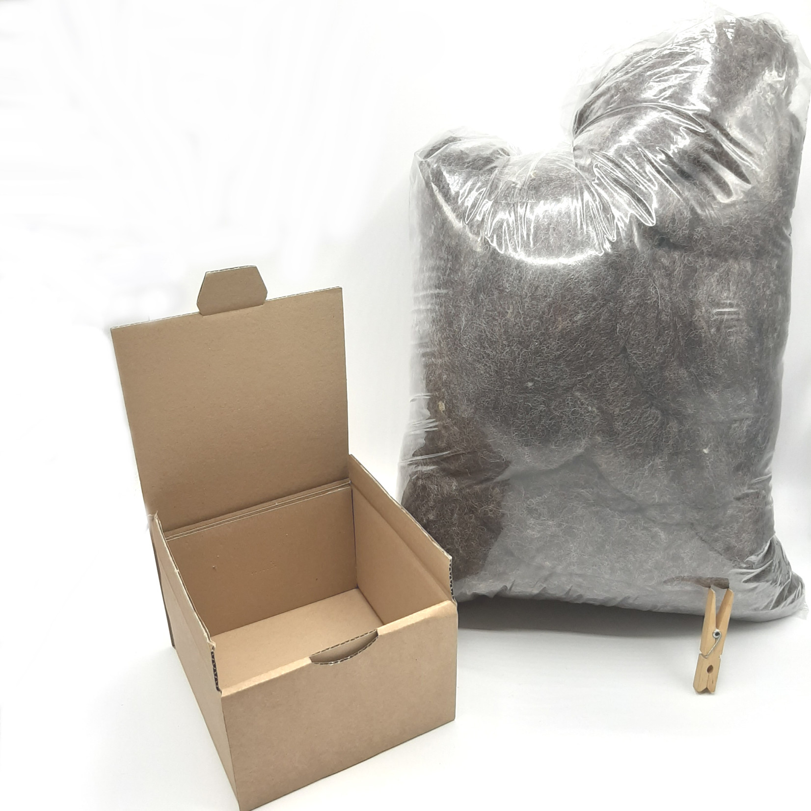 HollandWool vulwol 1000 gram - 100% wol - Nederlandse gewassen, gekaarde Schapenwol MELEE, licht ingevet, grijs