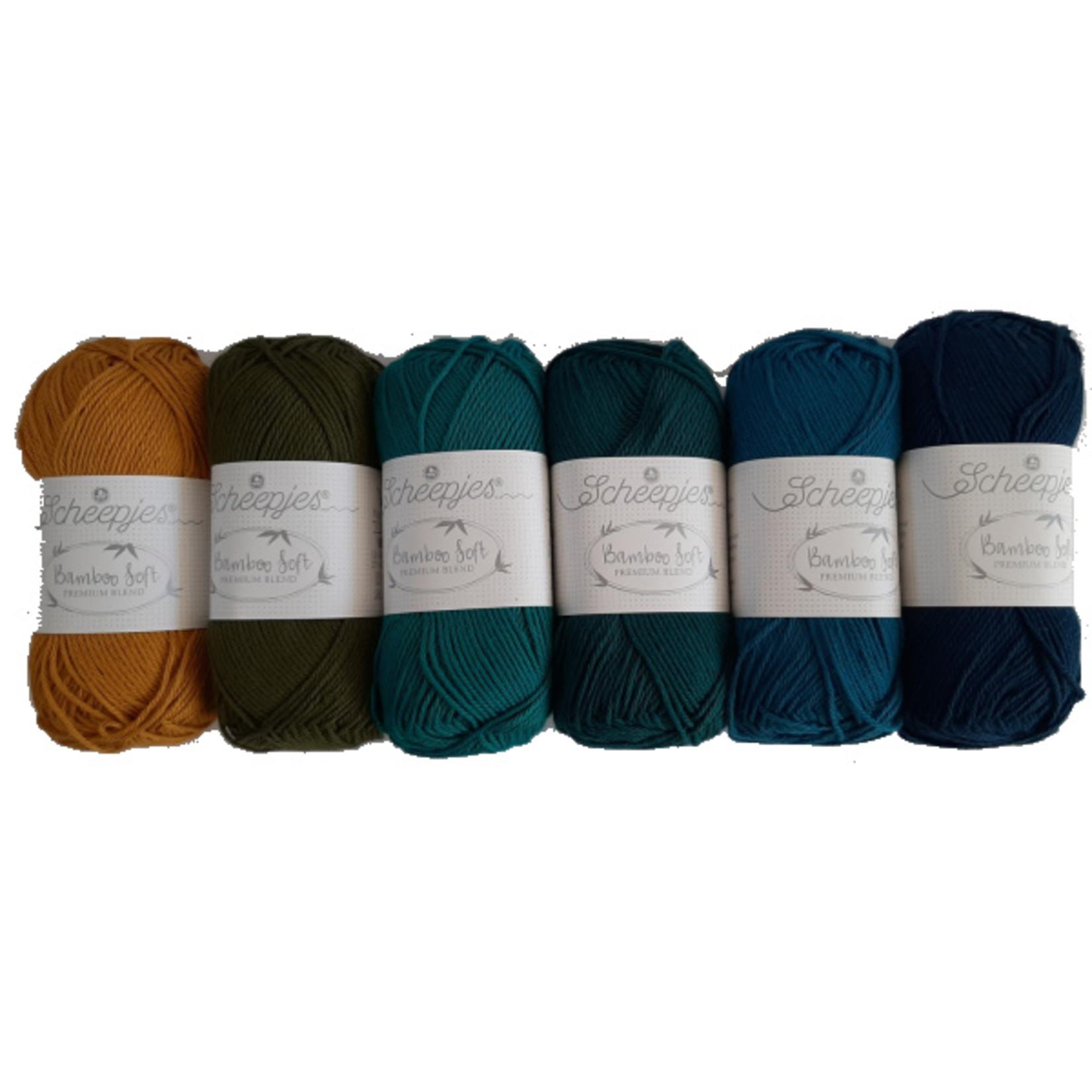 Scheepjes Scheepjes Bamboo Soft Assortiment Blauw- 6 kleuren blauwtinten per bol van 50 gr. = 6 bollen