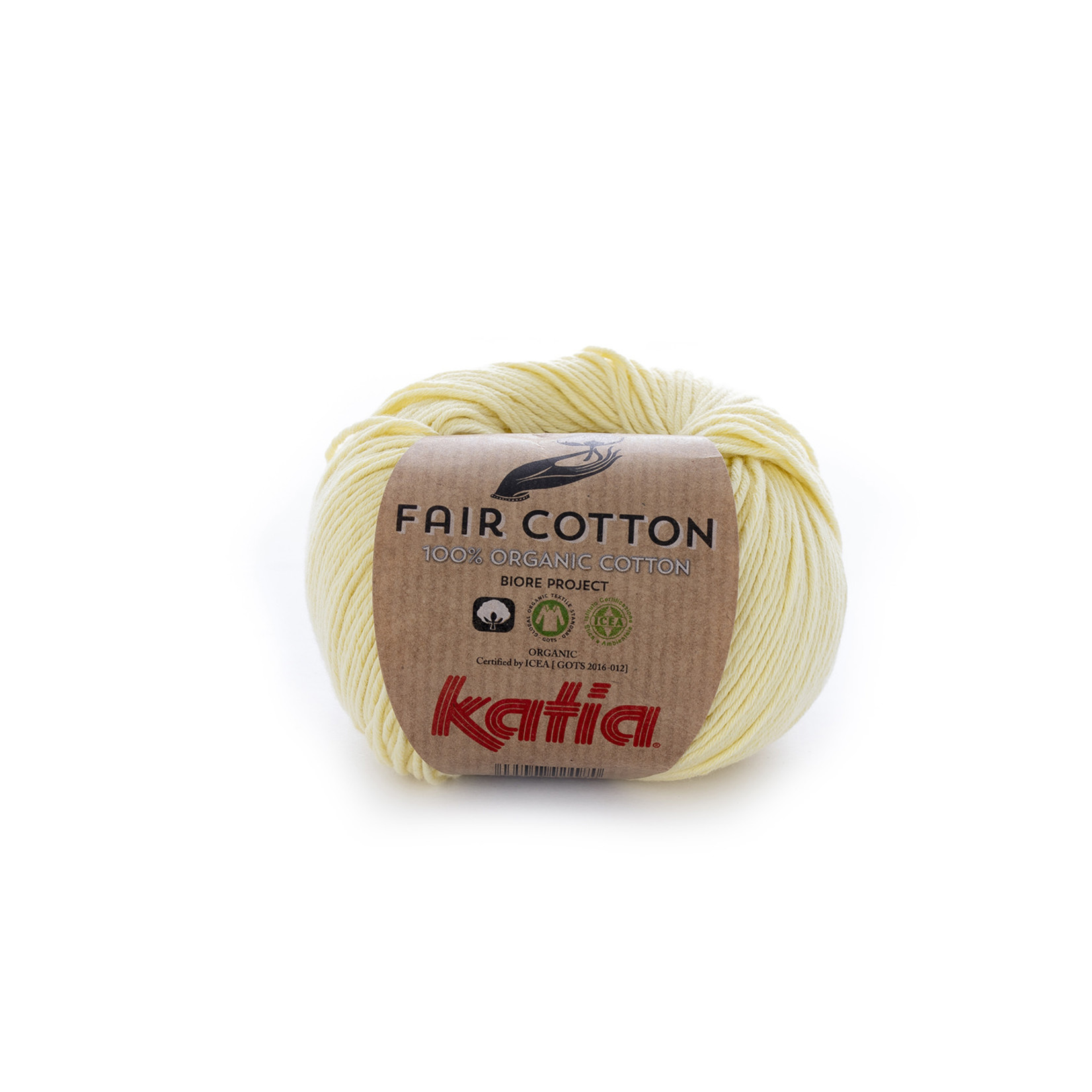 Katia Katia Fair Cotton 7 - lichtgeel - 1 bol = 50 gr. = 155 m. - 100% biol. katoen