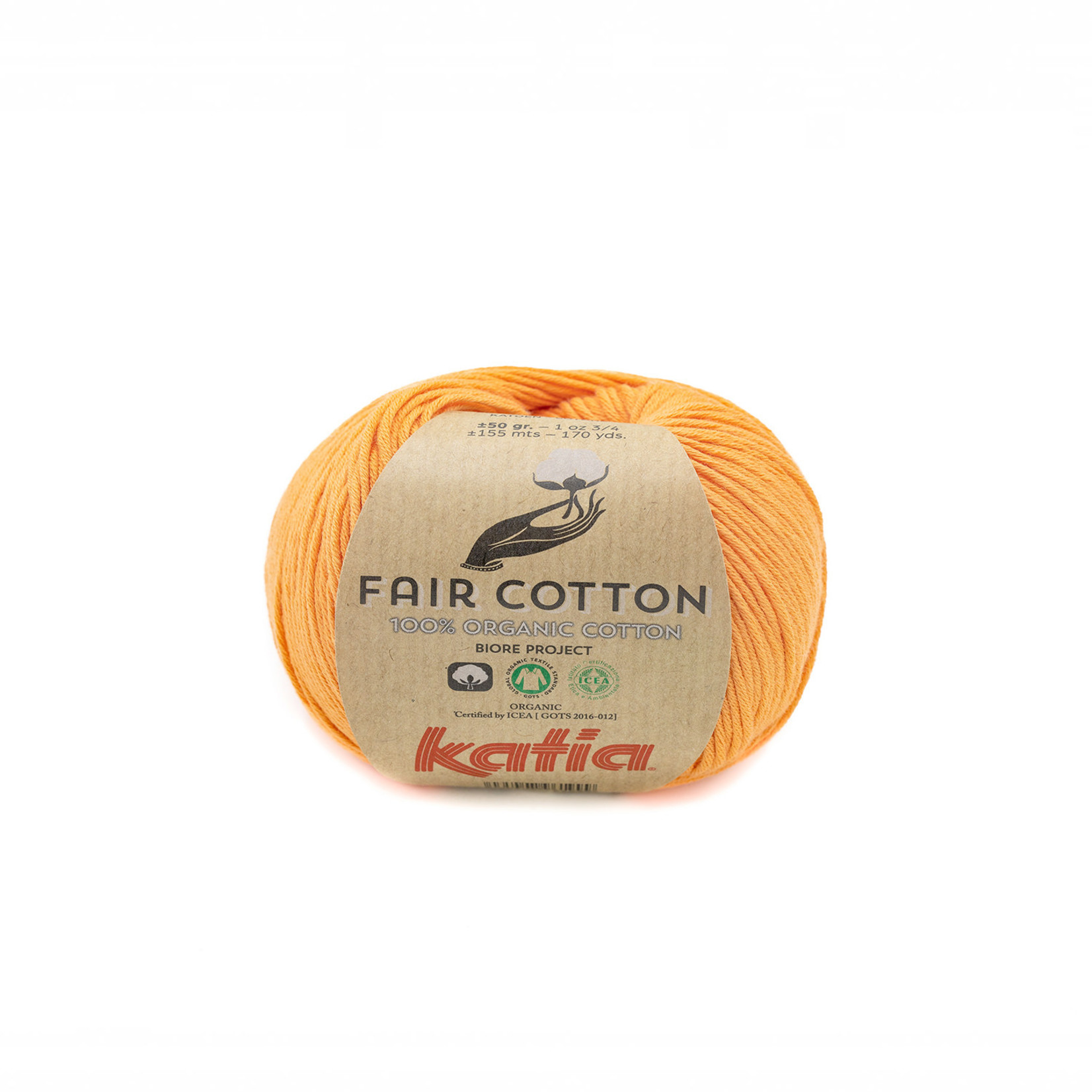 Katia Katia Fair Cotton 43 - pasteloranje - 1 bol = 50 gr. = 155 m. - 100% biol. katoen