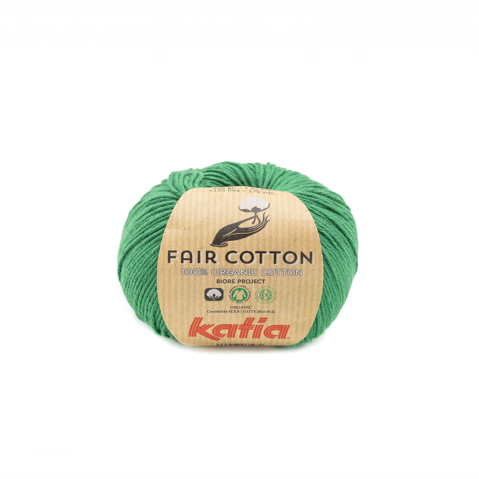 Katia Katia Fair Cotton 42 - flessegroen - 1 bol = 50 gr. = 155 m. - 100% biol. katoen