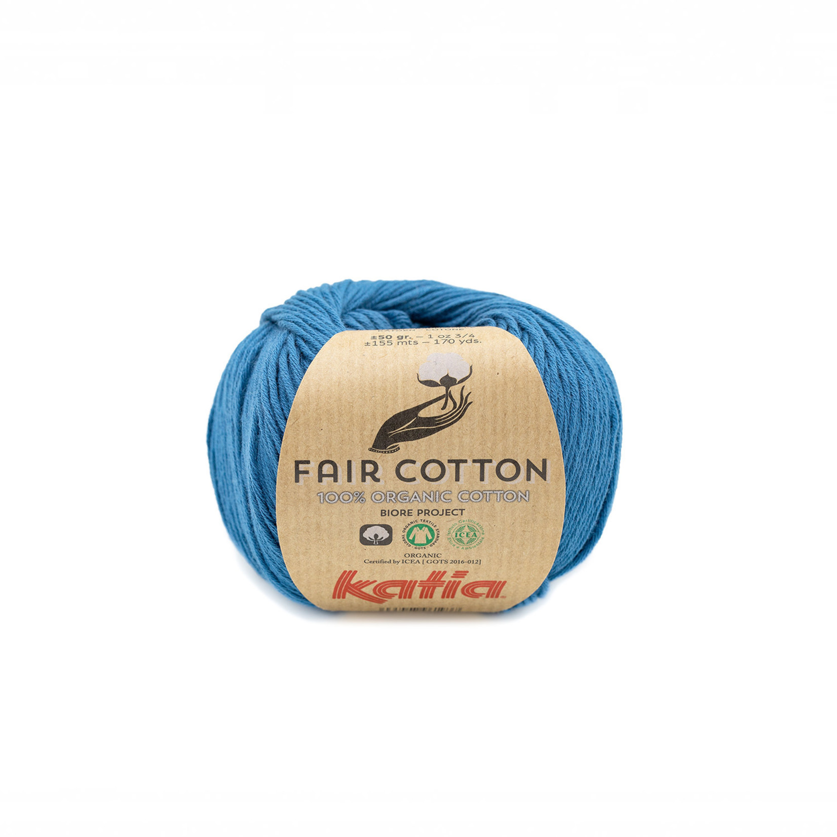 Katia Katia Fair Cotton 38 - groenblauw - 1 bol = 50 gr. = 155 m. - 100% biol. katoen