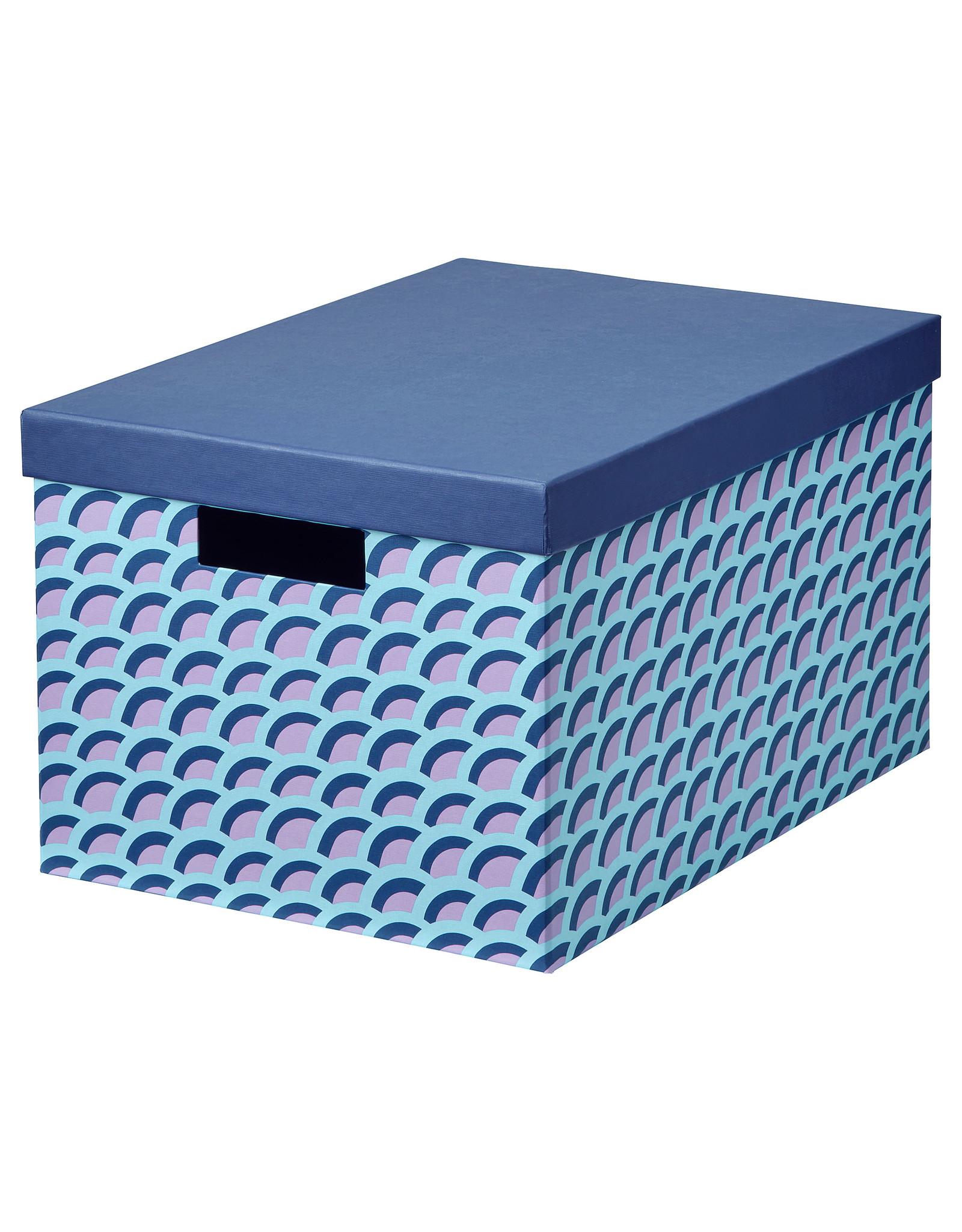 Ikea TJENA - Doos met deksel, blauw/veelkleurig25x35x20 cm