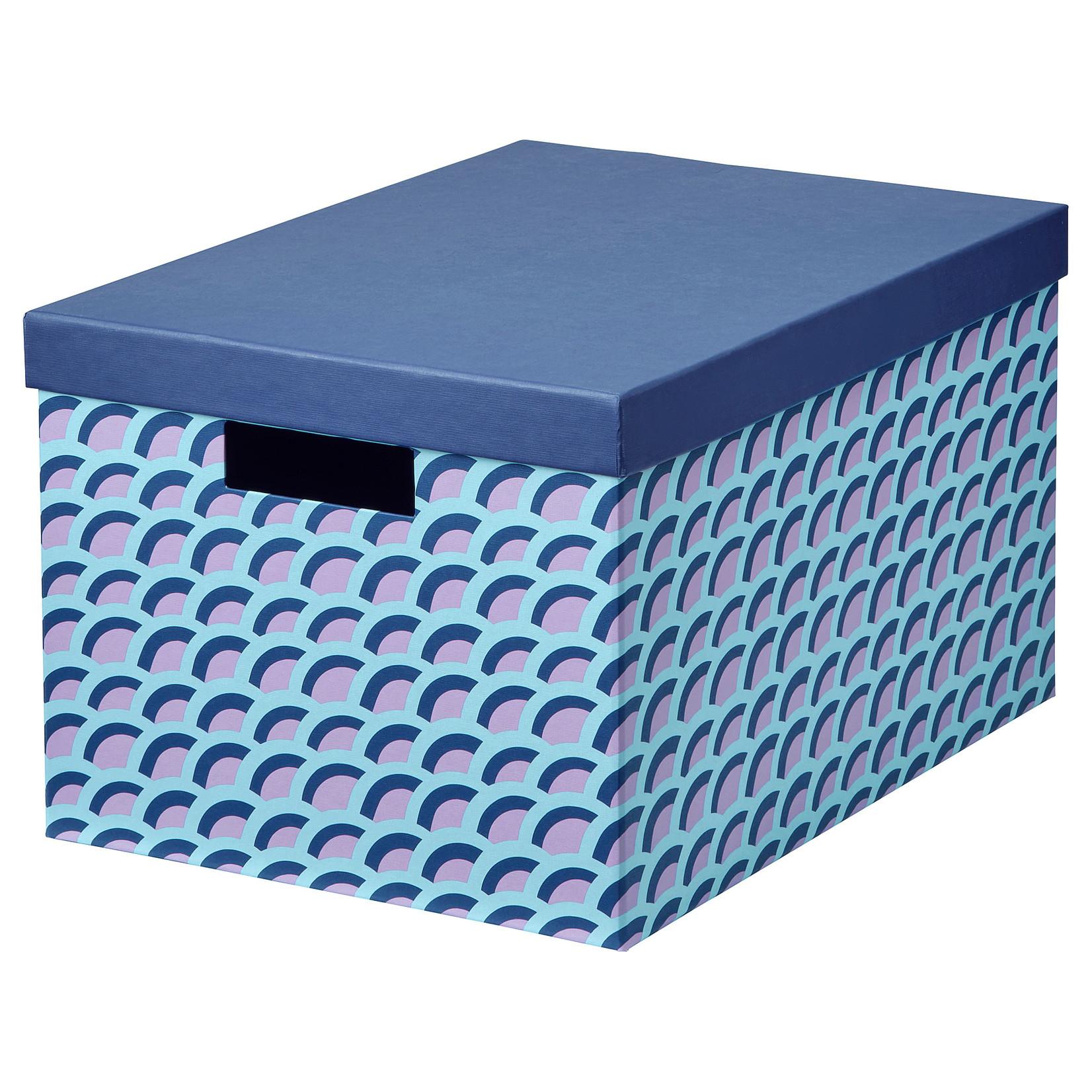 TJENA - Doos met deksel, blauw/veelkleurig25x35x20 cm