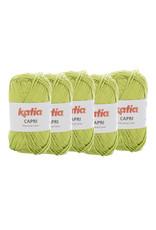 Katia Katia Capri - kleur 105 Pistache - bundel 5 x 50 gr. / 125 m. - 100% katoen