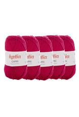 Katia Katia Capri - kleur 129 Donker fuchsia - bundel 5 x 50 gr. / 125 m. - 100% katoen
