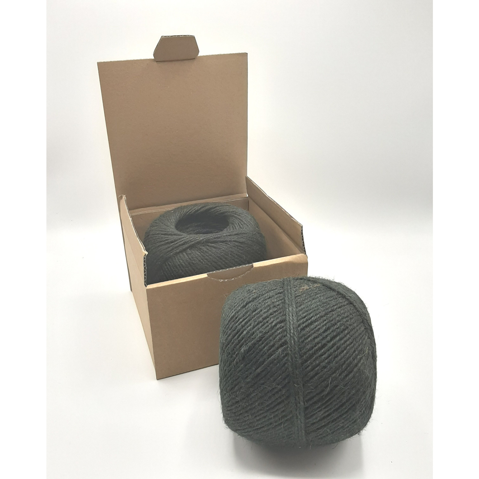 HollandWool Jute touw 500 gr. = 200 m. - kleur zwart  - 2.5 mm. dik