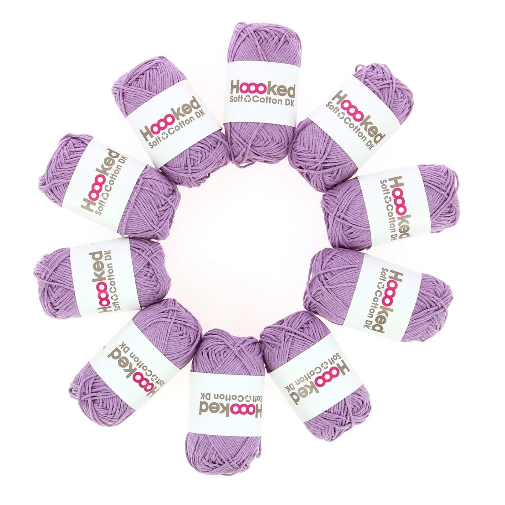 Hoooked Hoooked Soft Cotton DK Granada Lavender bundel 5 x 50 gr. / 85 m.