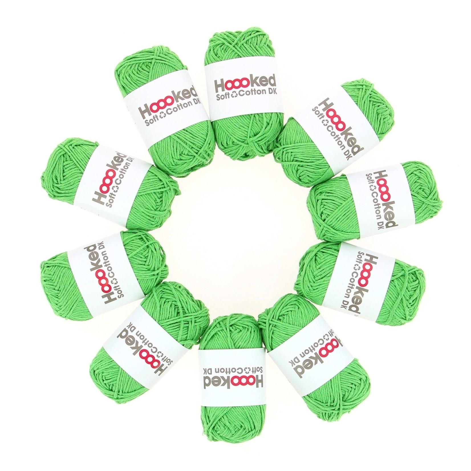 Hoooked Hoooked Soft Cotton DK Singapore Green bundel 5 x 50 gr. / 85 m.