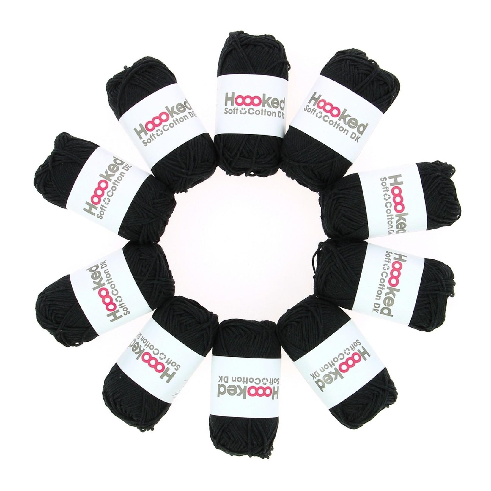 Hoooked Hoooked Soft Cotton DK Boston Black bundel 5 x 50 gr. / 85 m.