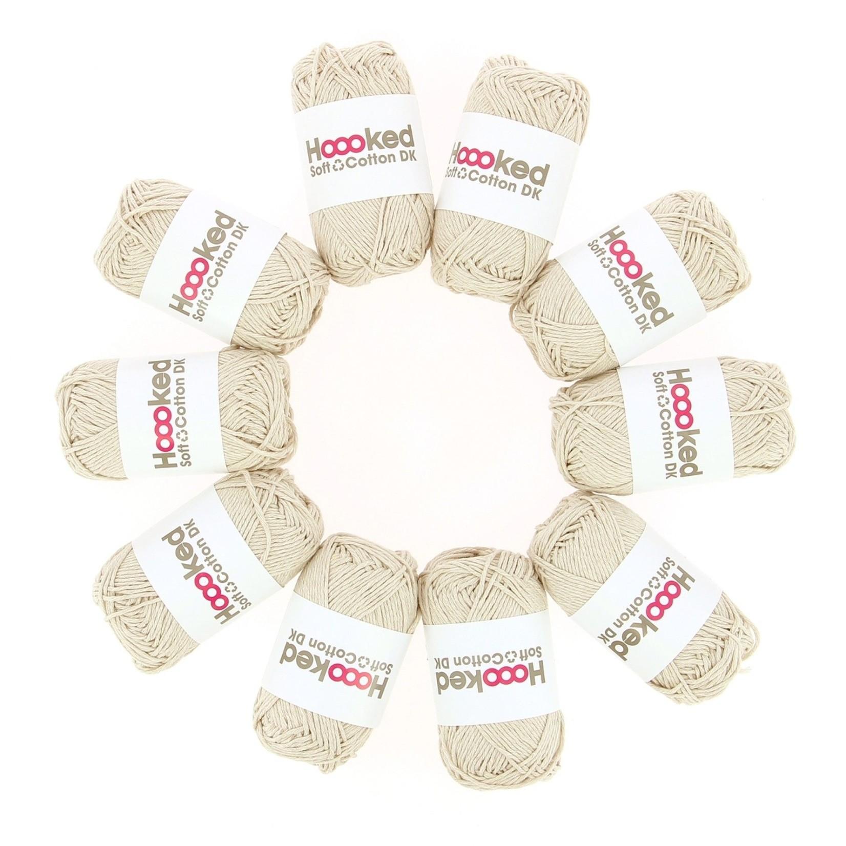 Hoooked Hoooked Soft Cotton DK California Sand bundel 5 x 50 gr. / 85 m.