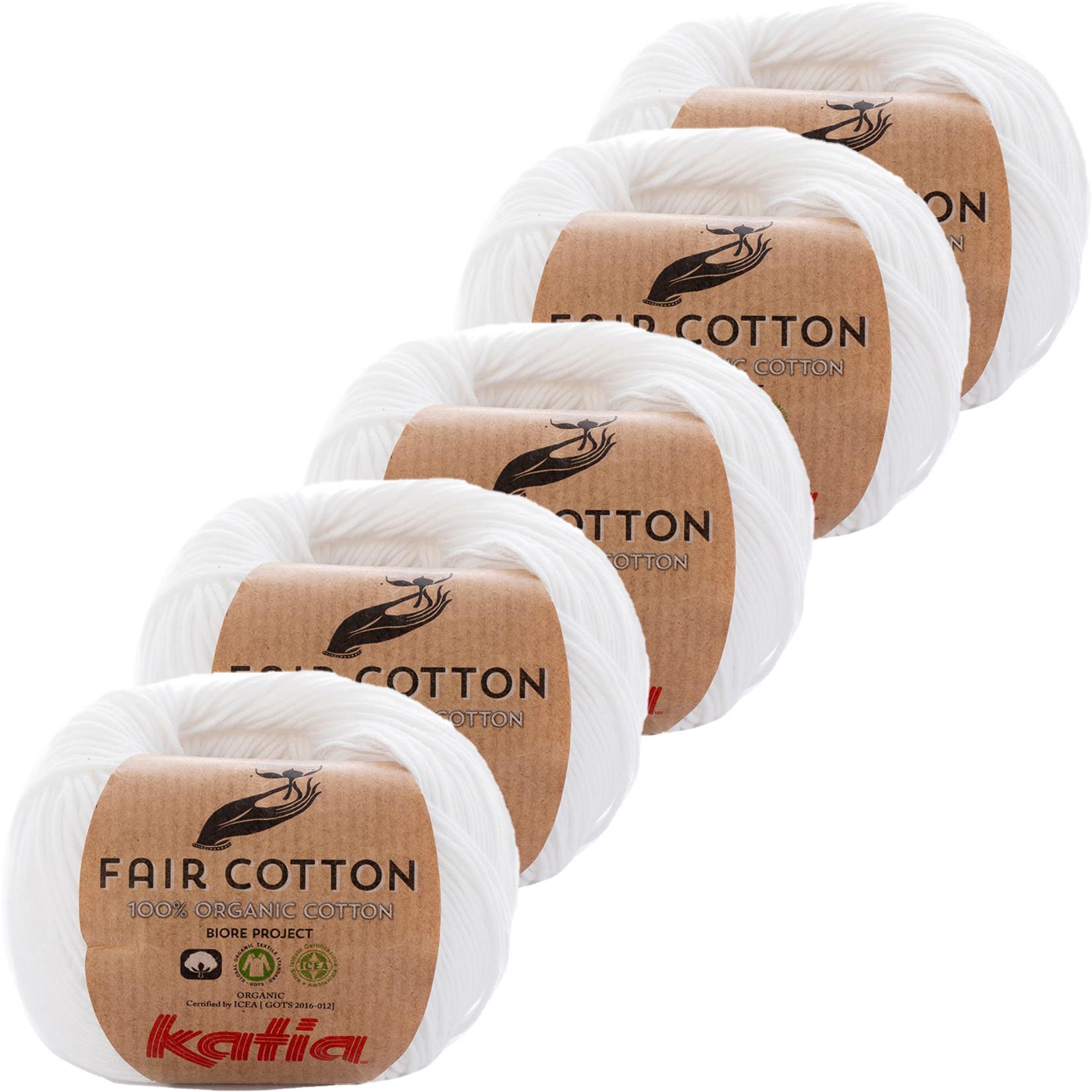 Katia Katia Fair Cotton Kleur 1 - wit - 100% biologisch GOTS katoengaren - 50 gr. = 155 m. - bundel 5 x 50 gr.