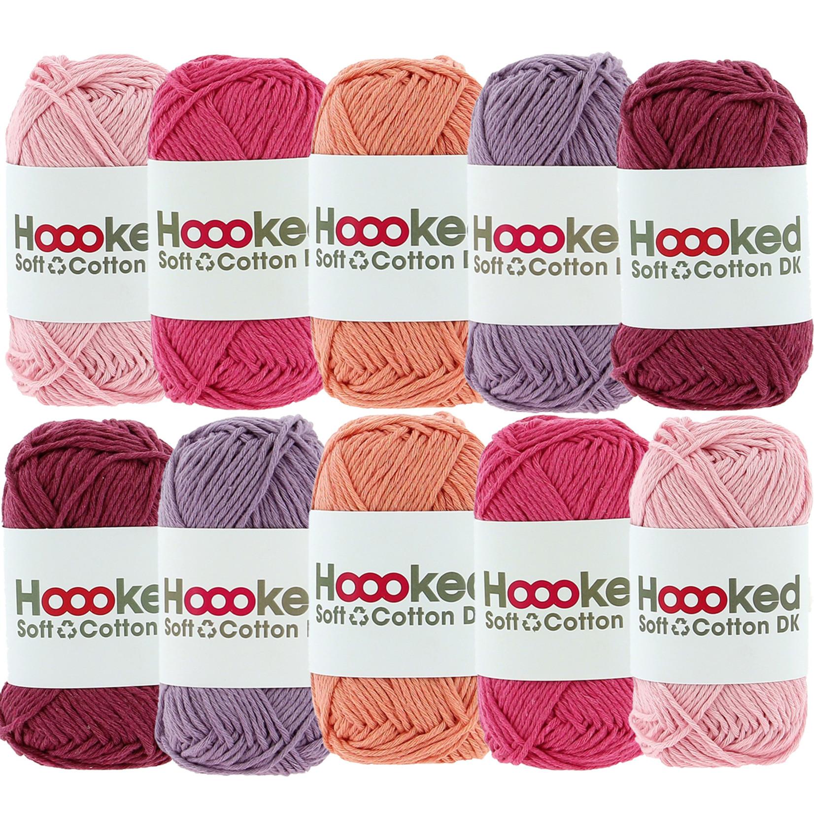 Hoooked Hoooked Soft Cotton DK kleurenbundel Roze10 x 50 gr. / 85 m.