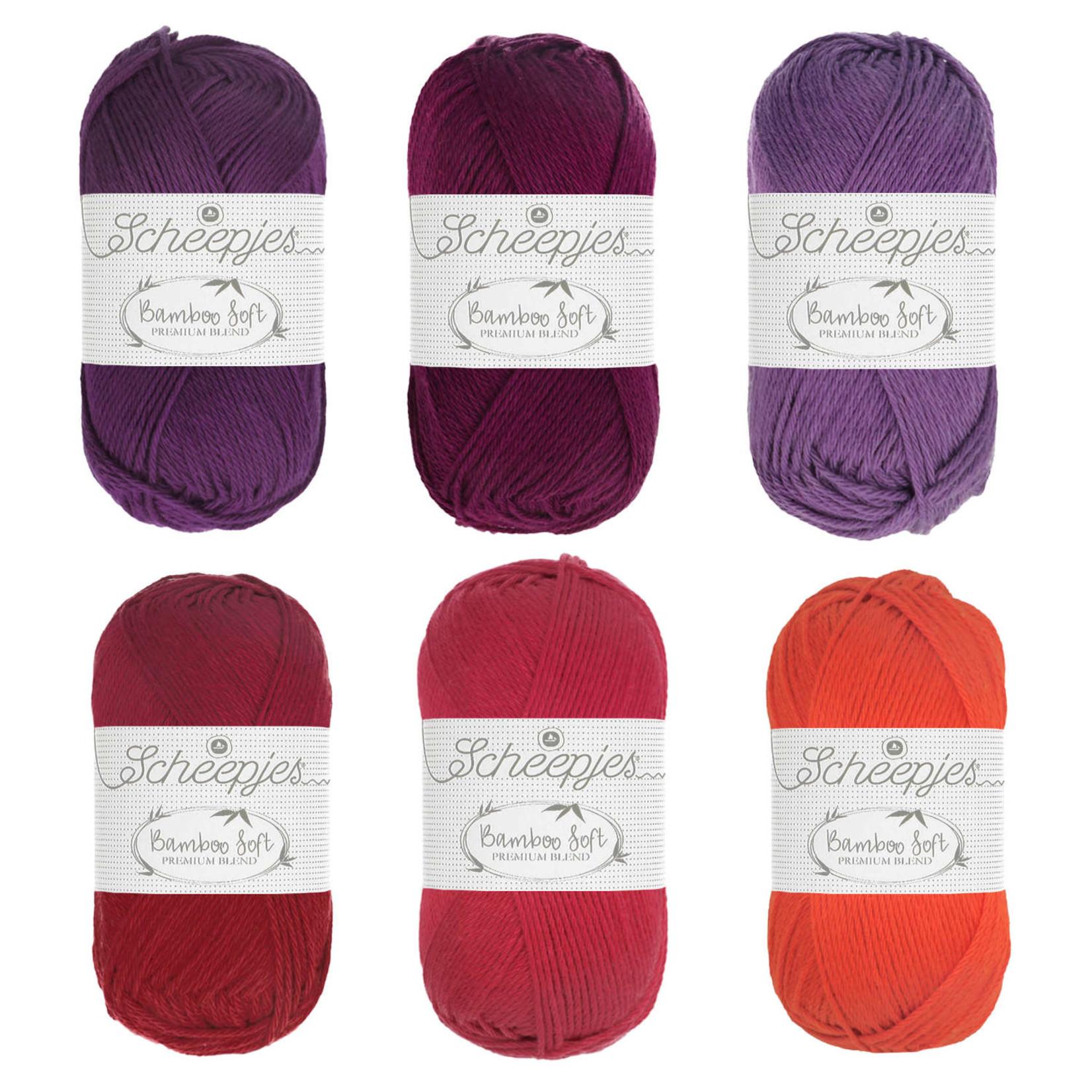 Scheepjes Scheepjes Bamboo Soft Assortiment Rood - 6 kleuren rood/paarstinten per 1 bol van 50 gr. = 6 bollen