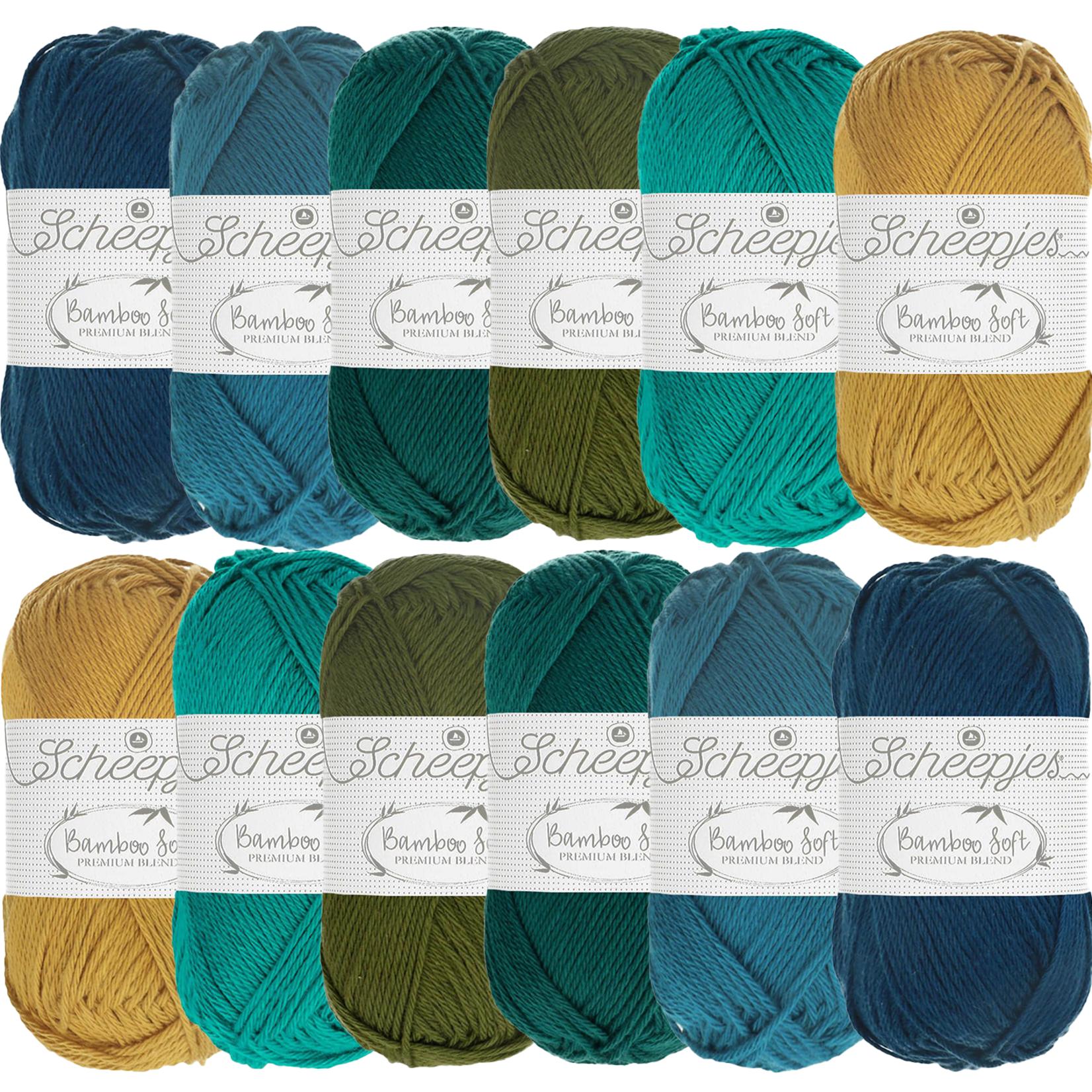 Scheepjes Scheepjes Bamboo Soft Assortiment Blauw- 6 kleuren blauwtinten per 2 bollen van 50 gr. = 12 bollen