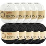 Katia Ekos Combibundel 10 bollen x 50 gr. Zwart-Wit