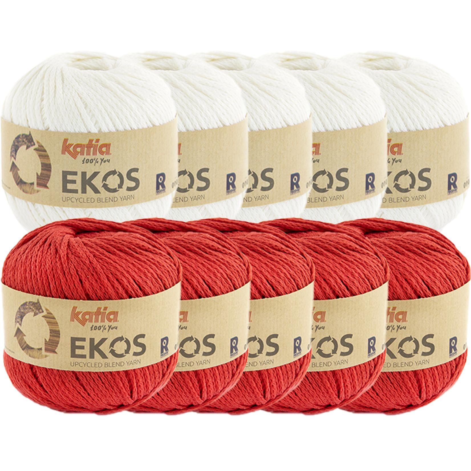Katia Ekos Combibundel 10 bollen x 50 gr. Ecru-Rood