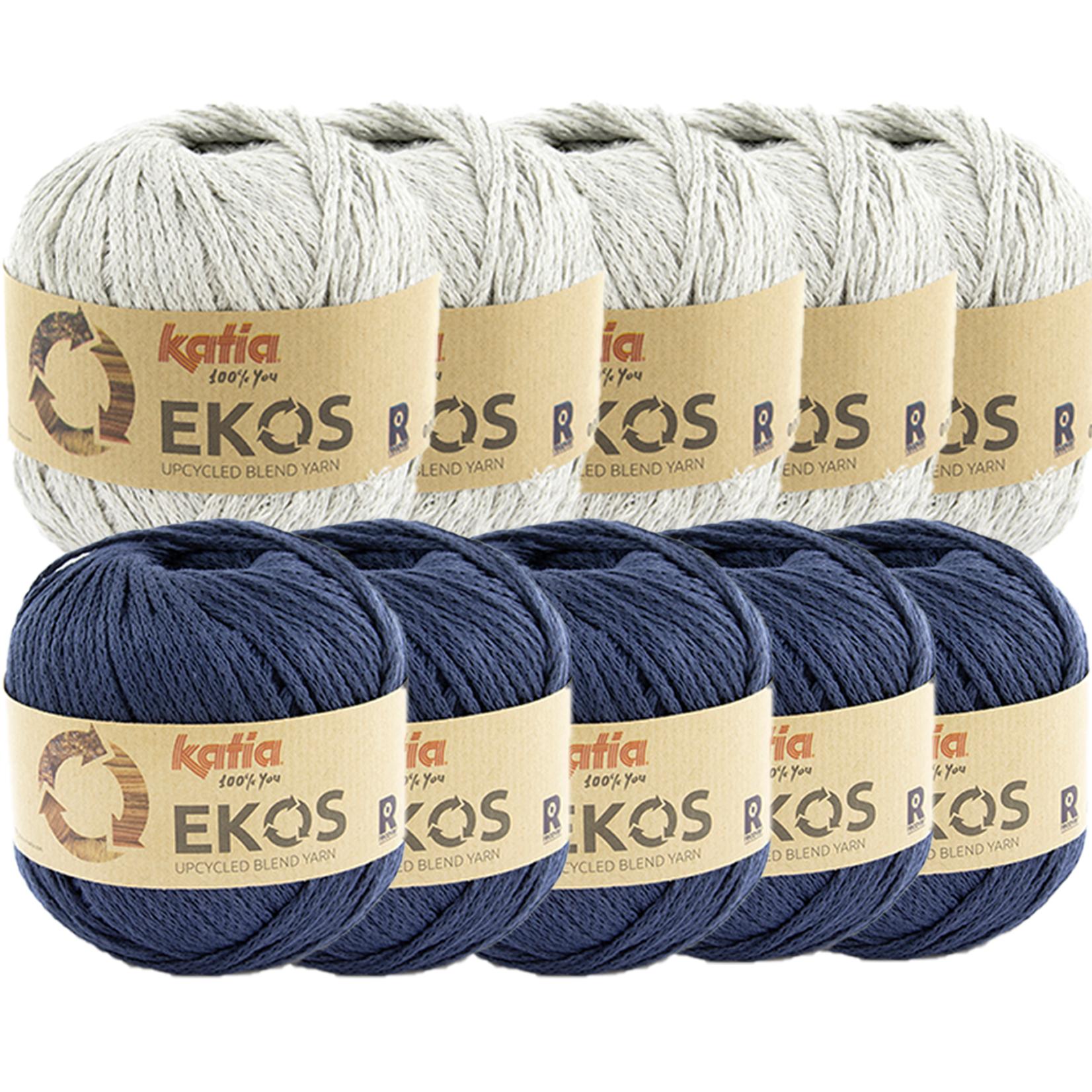 Katia Ekos Combibundel 10 bollen x 50 gr. Lichtgrijs-Donkerblauw