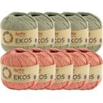 Katia Ekos Combibundel 10 bollen x 50 gr. Bleekgroen-Koraal