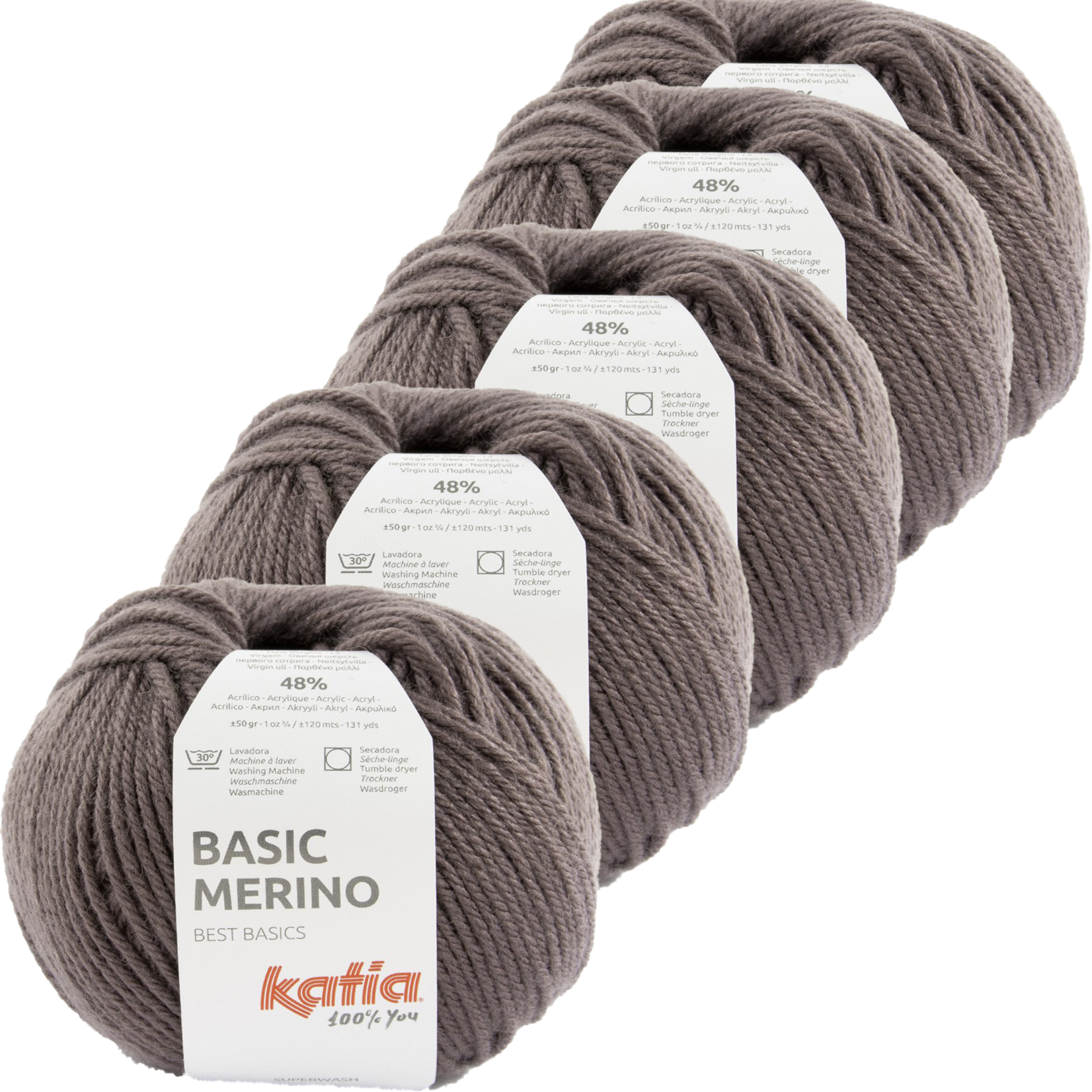 Katia Basic Merino - kleur 89_Aubergine - bundel 5 bollen 50 gr.  van 120 m.