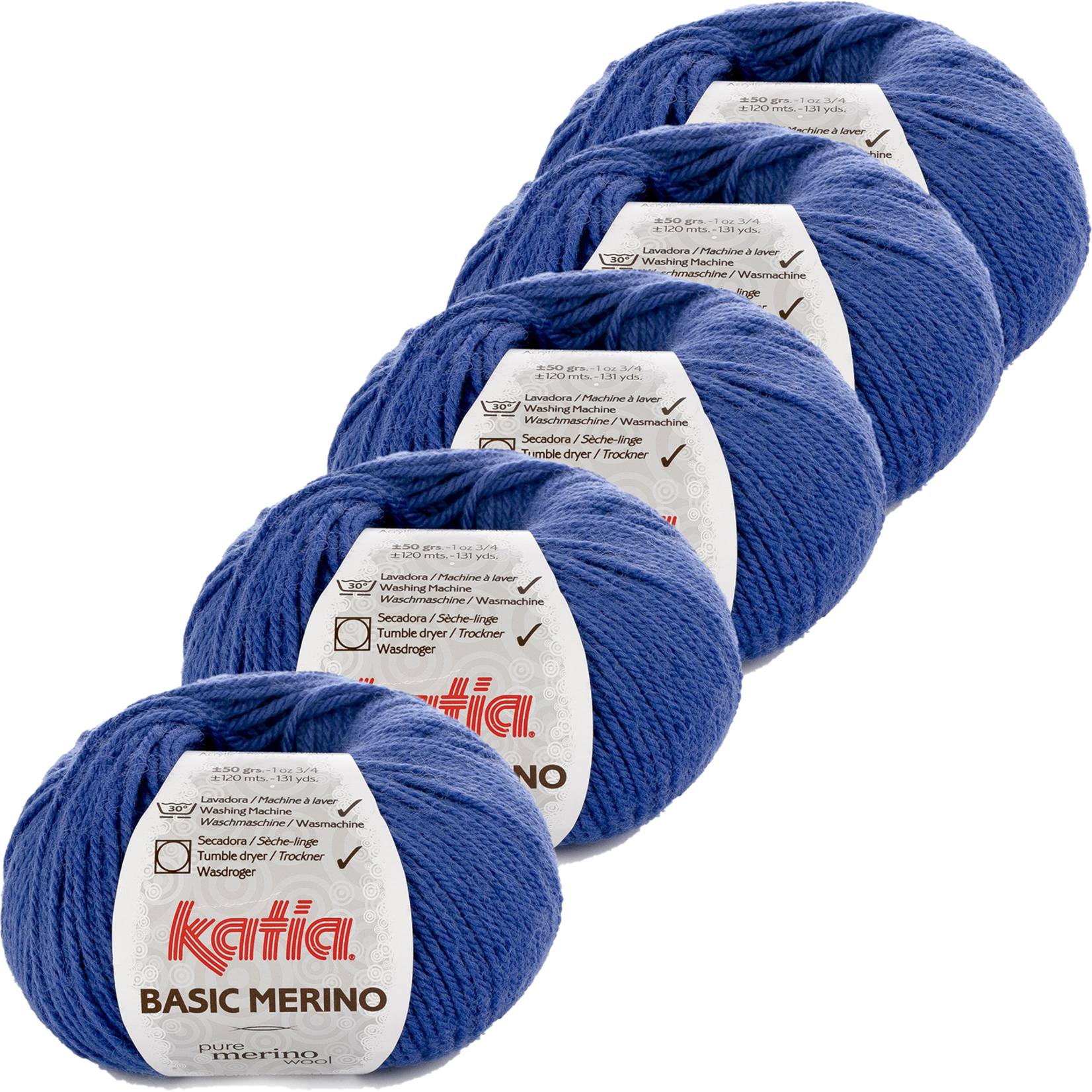 Katia Basic Merino - kleur 45_Blauw - bundel 5 bollen 50 gr.  van 120 m.