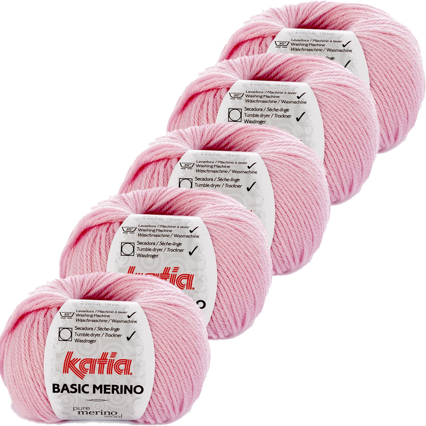 Katia Basic Merino - kleur 25_Bleekrood - bundel 5 bollen 50 gr.  van 120 m.