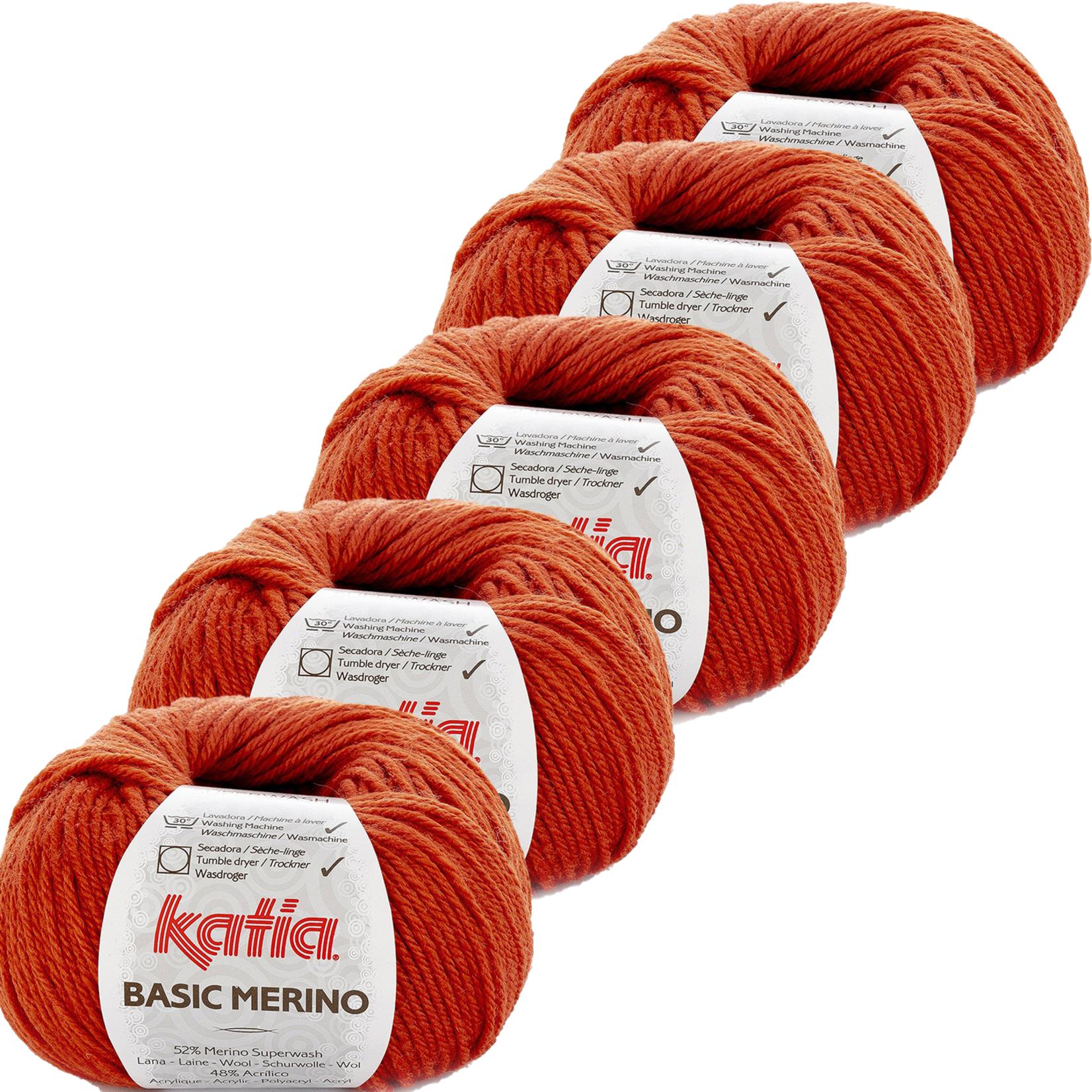 Katia Basic Merino - kleur 20_Dieporanje - bundel 5 bollen 50 gr.  van 120 m.