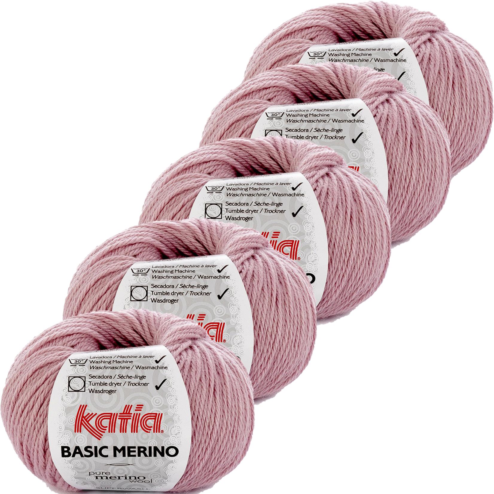 Katia Basic Merino - kleur 69_Licht  bleekpaars - bundel 5 bollen 50 gr.  van 120 m.