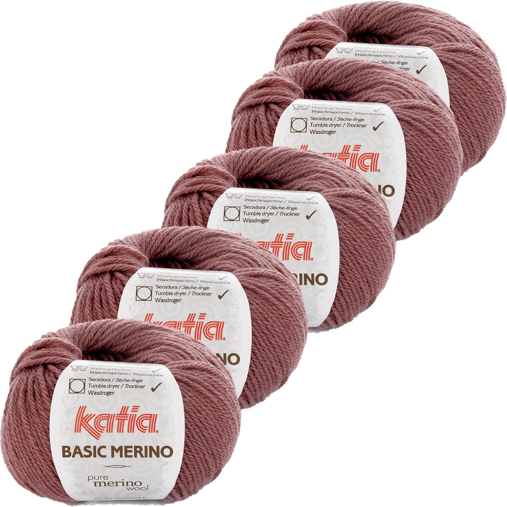 Katia Basic Merino - kleur 74_Donker bleekrood - bundel 5 bollen 50 gr.  van 120 m.