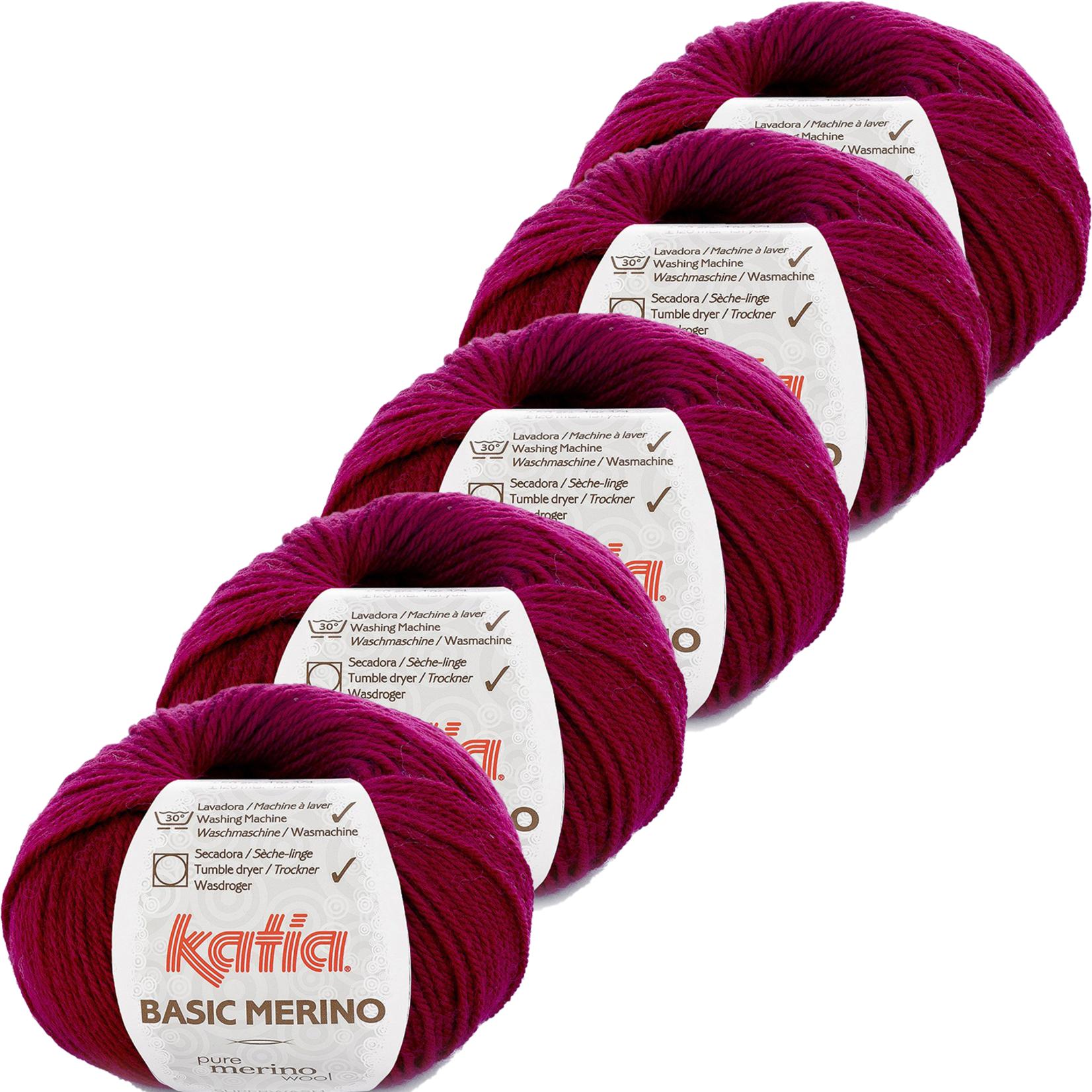 Katia Basic Merino - kleur 24_Donker fuchsia - bundel 5 bollen 50 gr.  van 120 m.