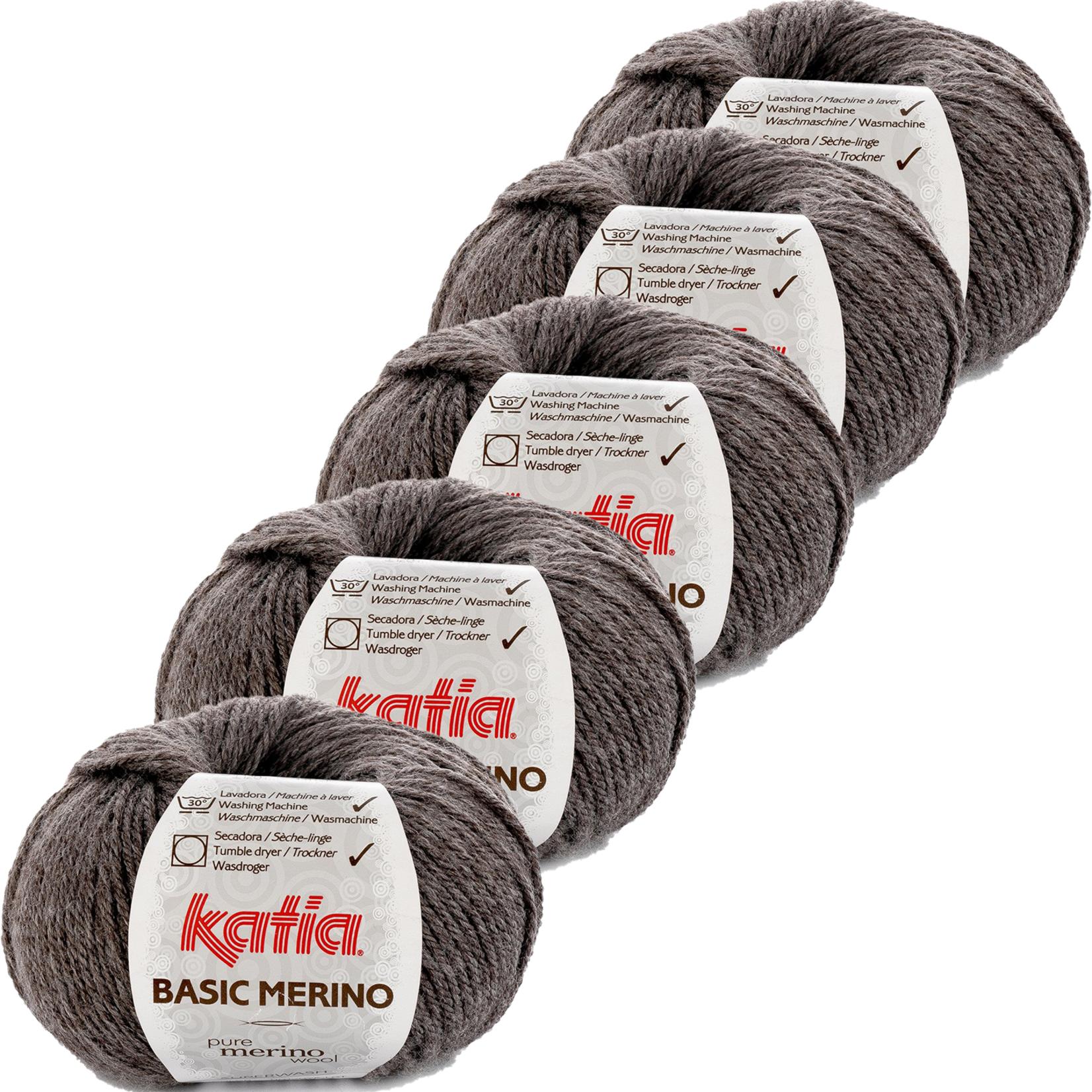 Katia Basic Merino - kleur 8_Donker grijs - bundel 5 bollen 50 gr.  van 120 m.