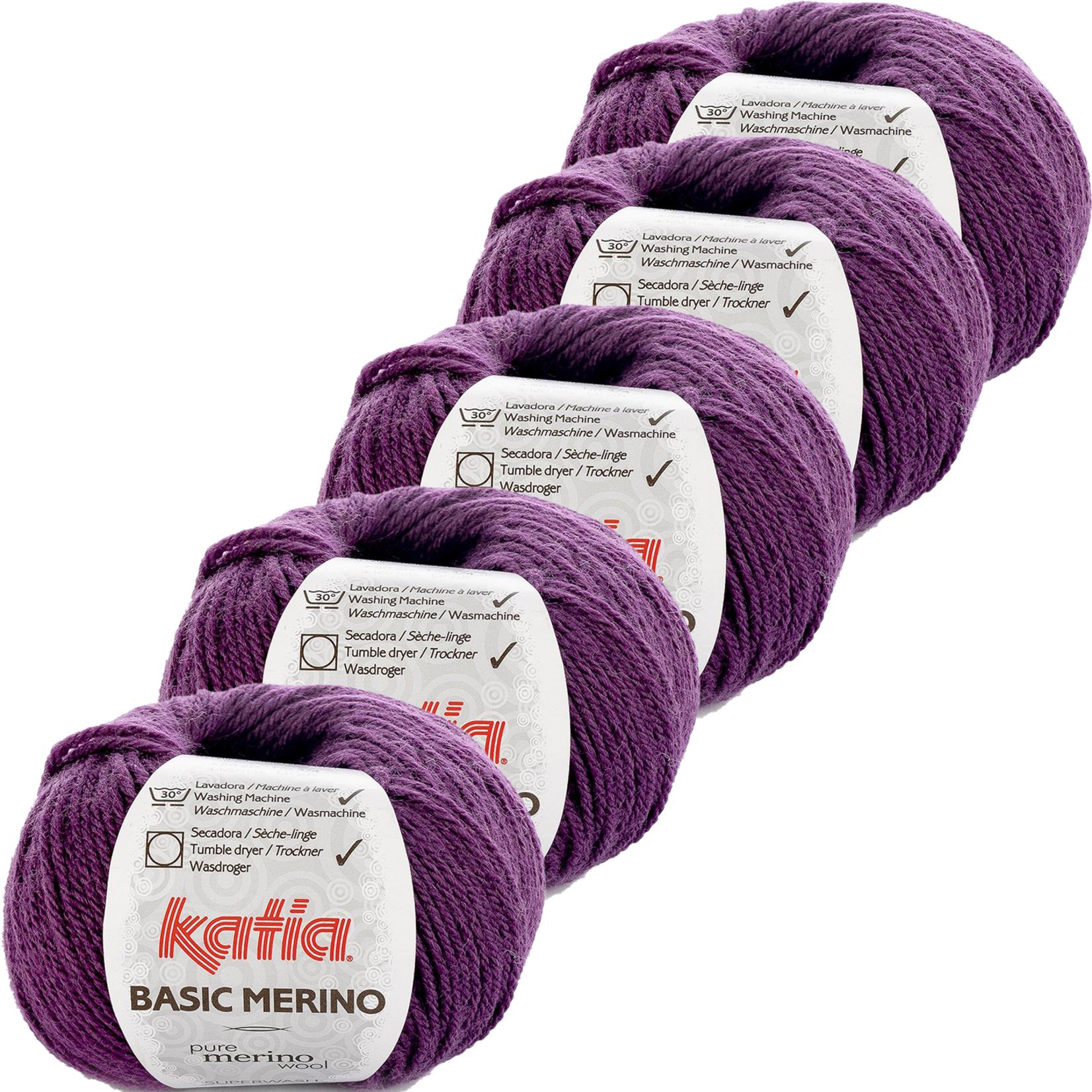 Katia Basic Merino - kleur 28_Donkerlila - bundel 5 bollen 50 gr.  van 120 m.