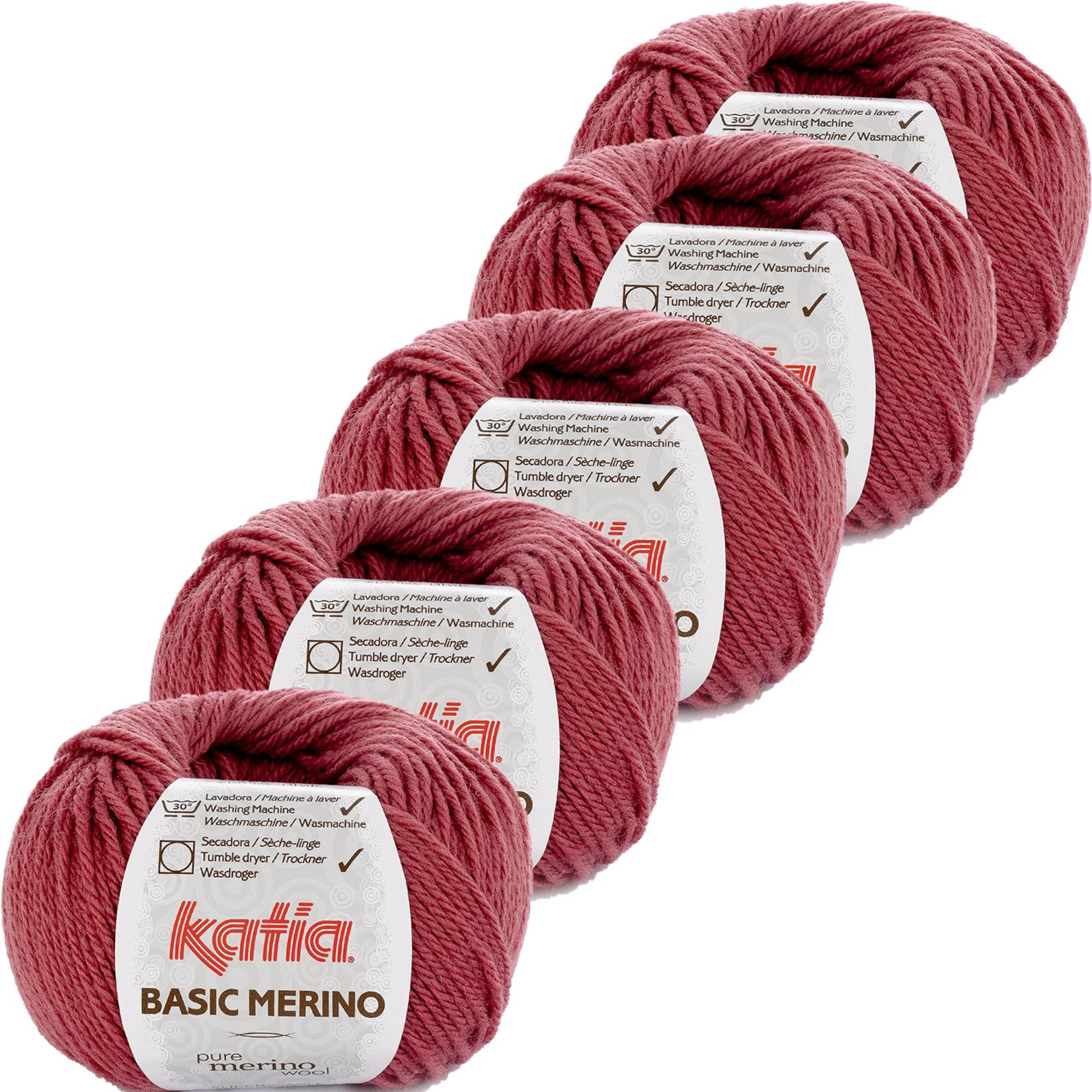 Katia Basic Merino - kleur 75_Framboosrood - bundel 5 bollen 50 gr.  van 120 m.