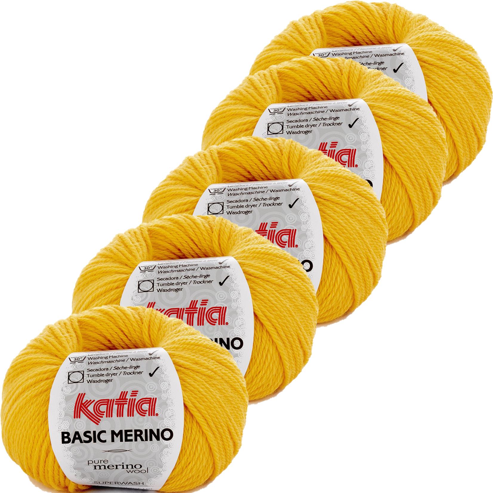 Katia Basic Merino - kleur 64_Geel - bundel 5 bollen 50 gr.  van 120 m.