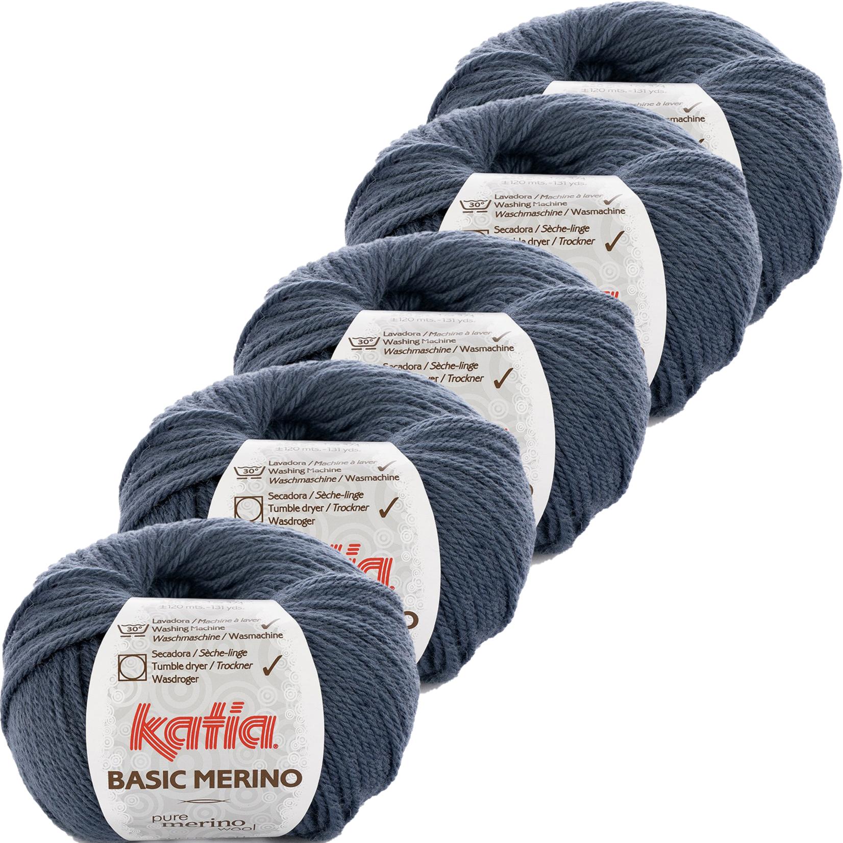 Katia Basic Merino - kleur 32_Grijsblauw - bundel 5 bollen 50 gr.  van 120 m.