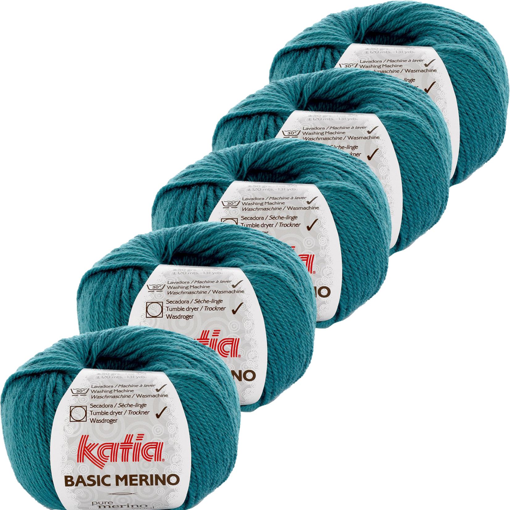 Katia Basic Merino - kleur 39_Groenblauw - bundel 5 bollen 50 gr.  van 120 m.