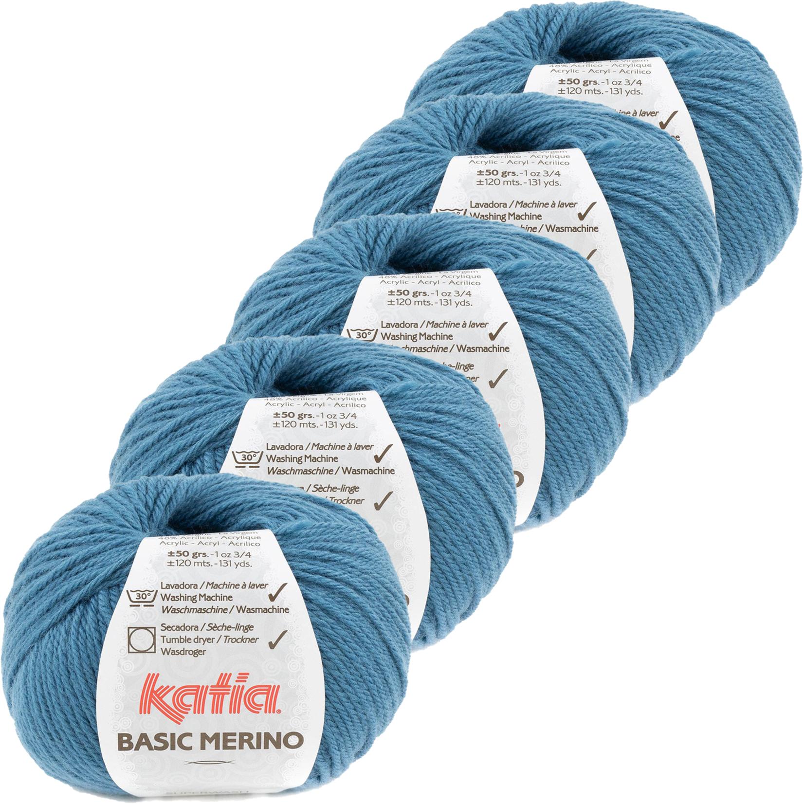 Katia Basic Merino - kleur 81_Licht Groenblauw - bundel 5 bollen 50 gr.  van 120 m.