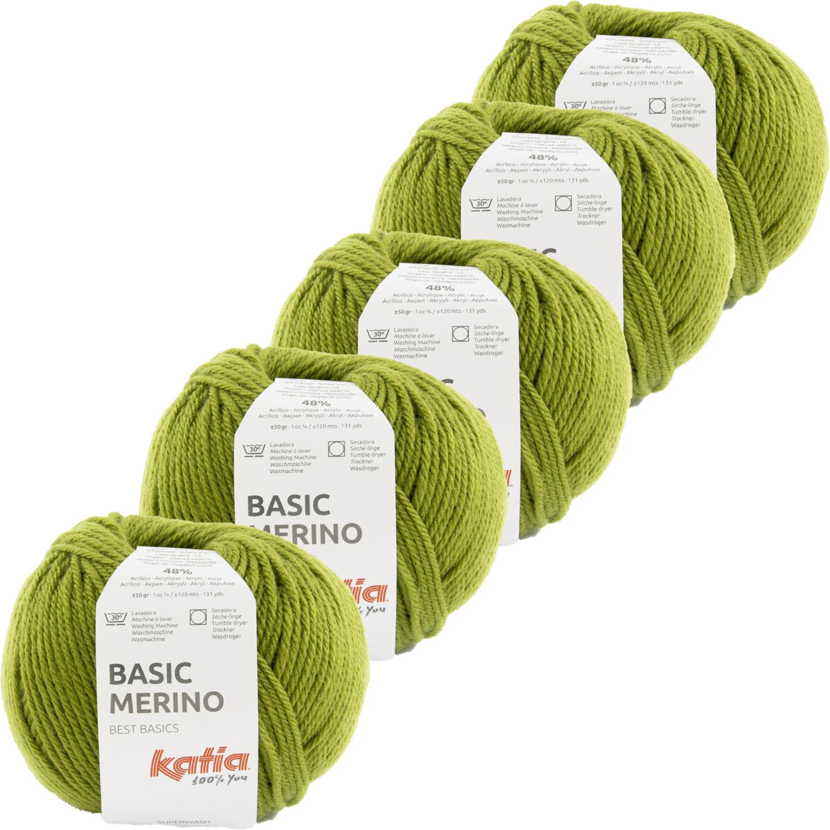 Katia Basic Merino - kleur 90_Groen - bundel 5 bollen 50 gr.  van 120 m.