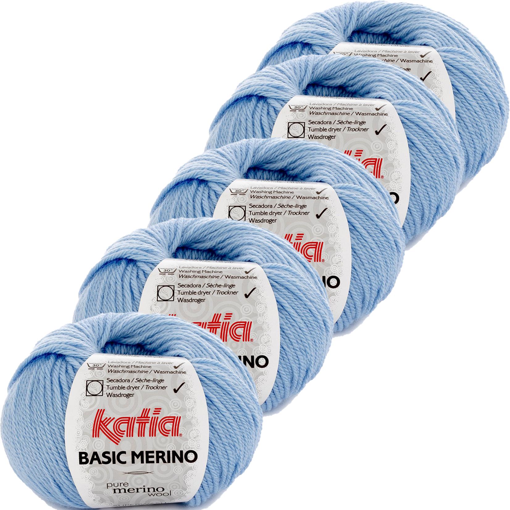 Katia Basic Merino - kleur 34_Hemelsblauw - bundel 5 bollen 50 gr.  van 120 m.