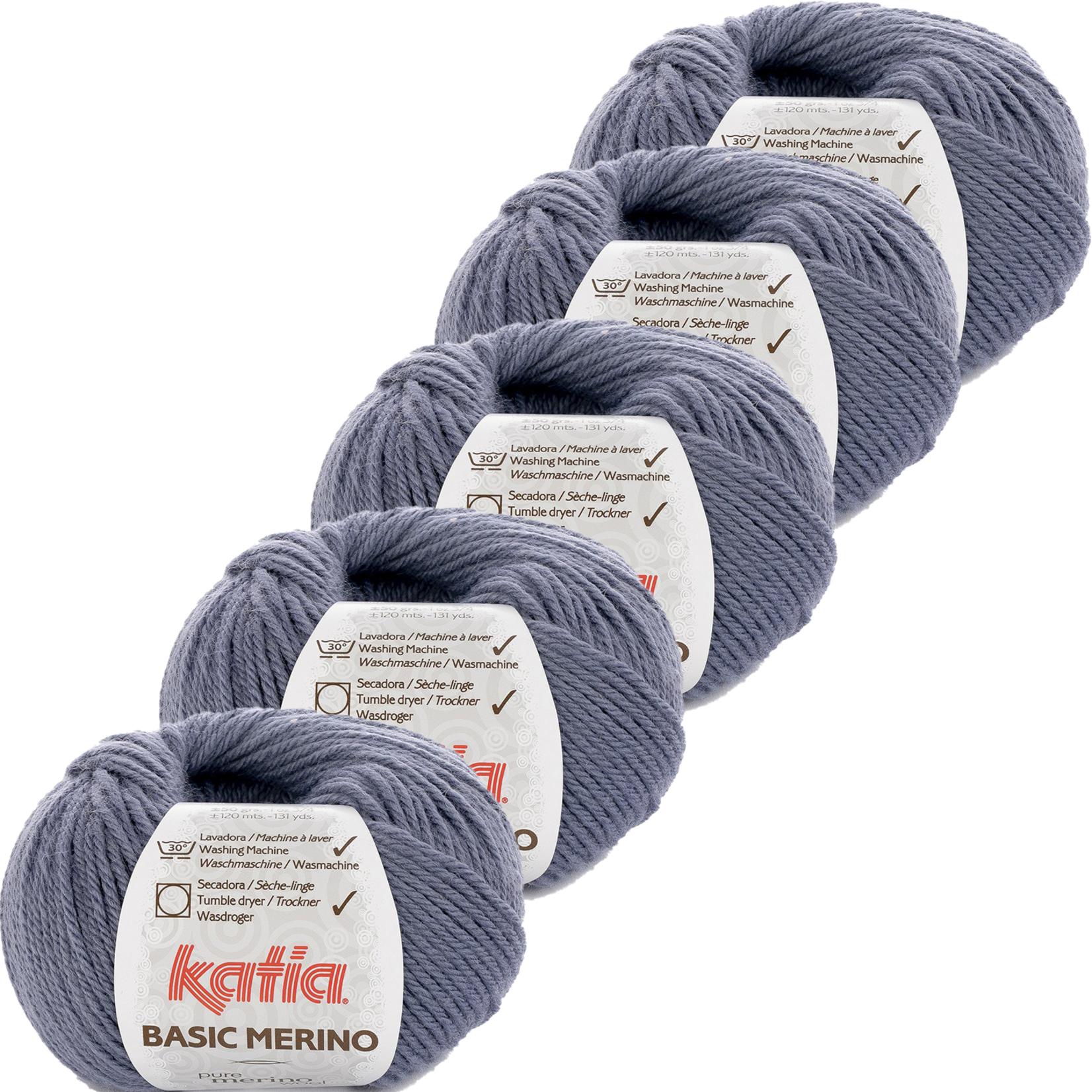 Katia Basic Merino - kleur 72_Jeans - bundel 5 bollen 50 gr.  van 120 m.