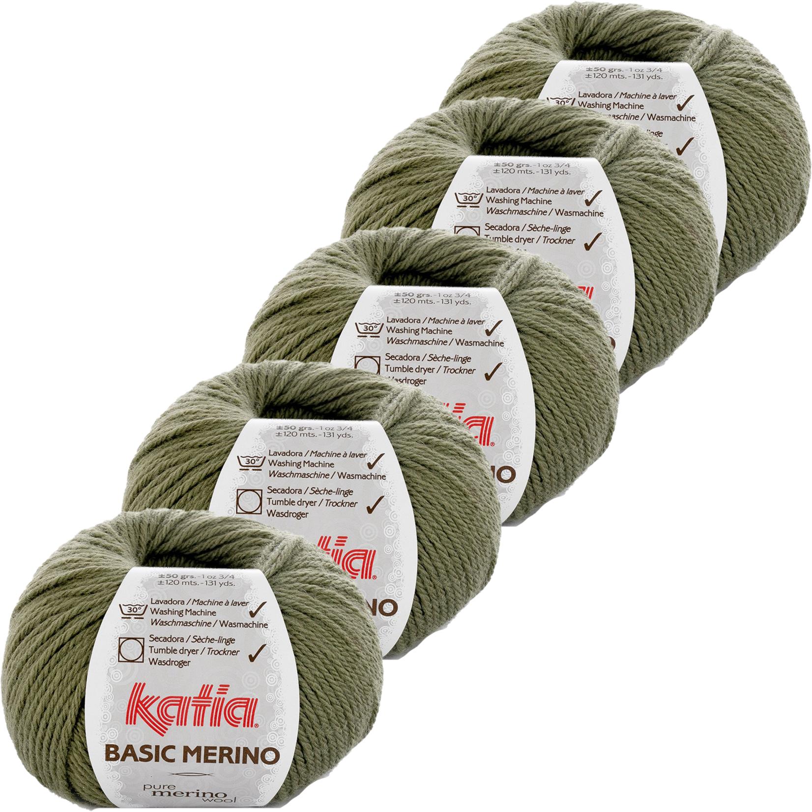 Katia Basic Merino - kleur 70_Kaki - bundel 5 bollen 50 gr.  van 120 m.