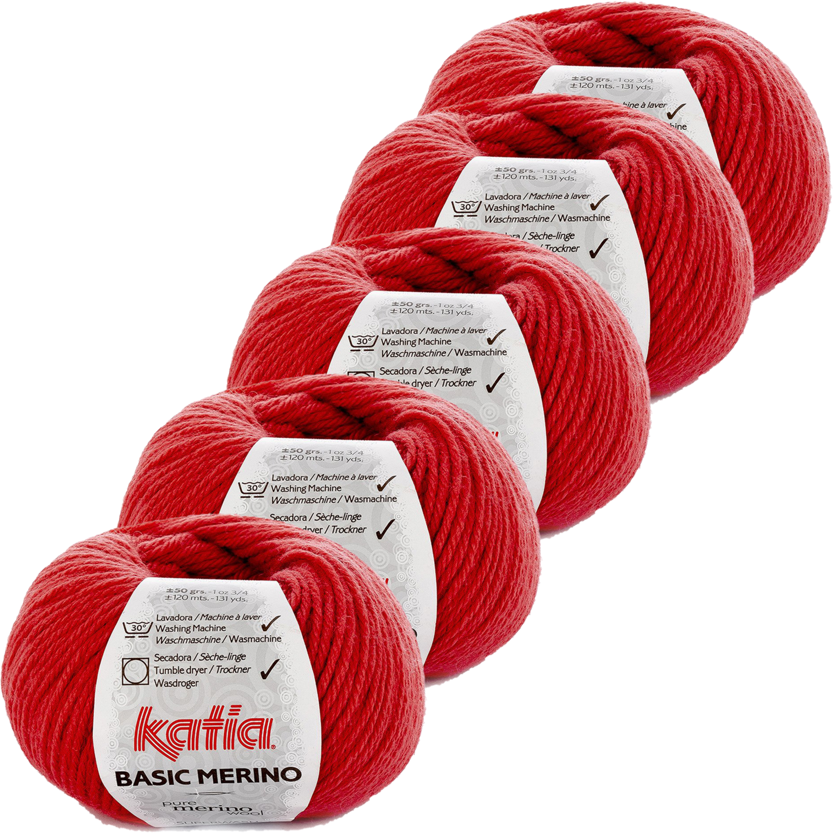 Katia Basic Merino - kleur 66_Koraal - bundel 5 bollen 50 gr.  van 120 m.