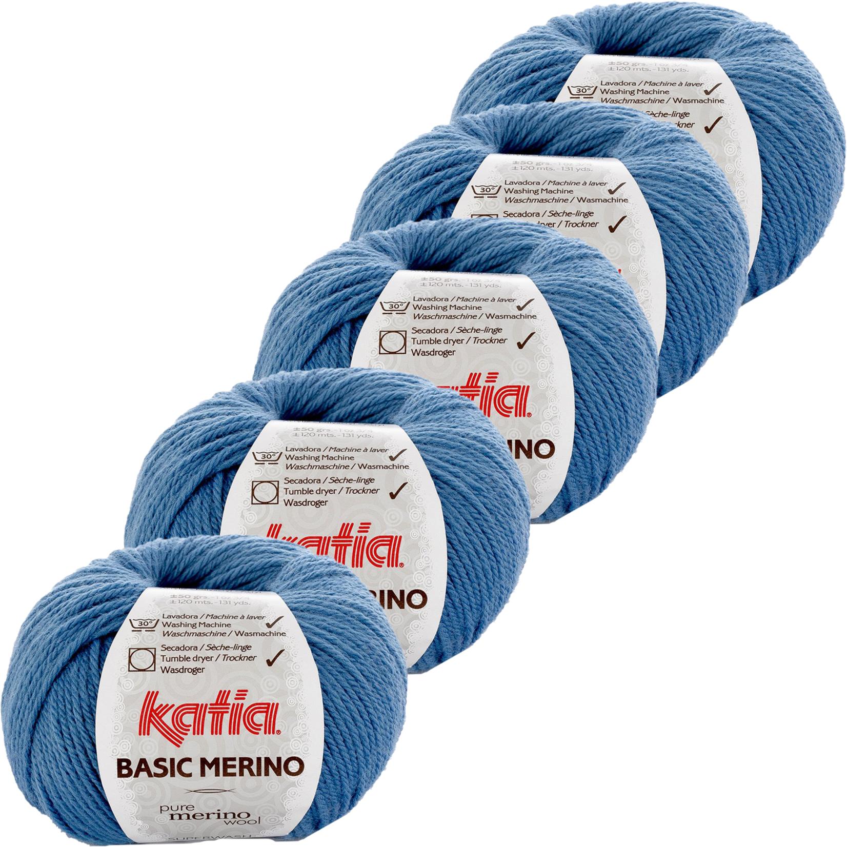 Katia Basic Merino - kleur 33_Licht blauw - bundel 5 bollen 50 gr.  van 120 m.
