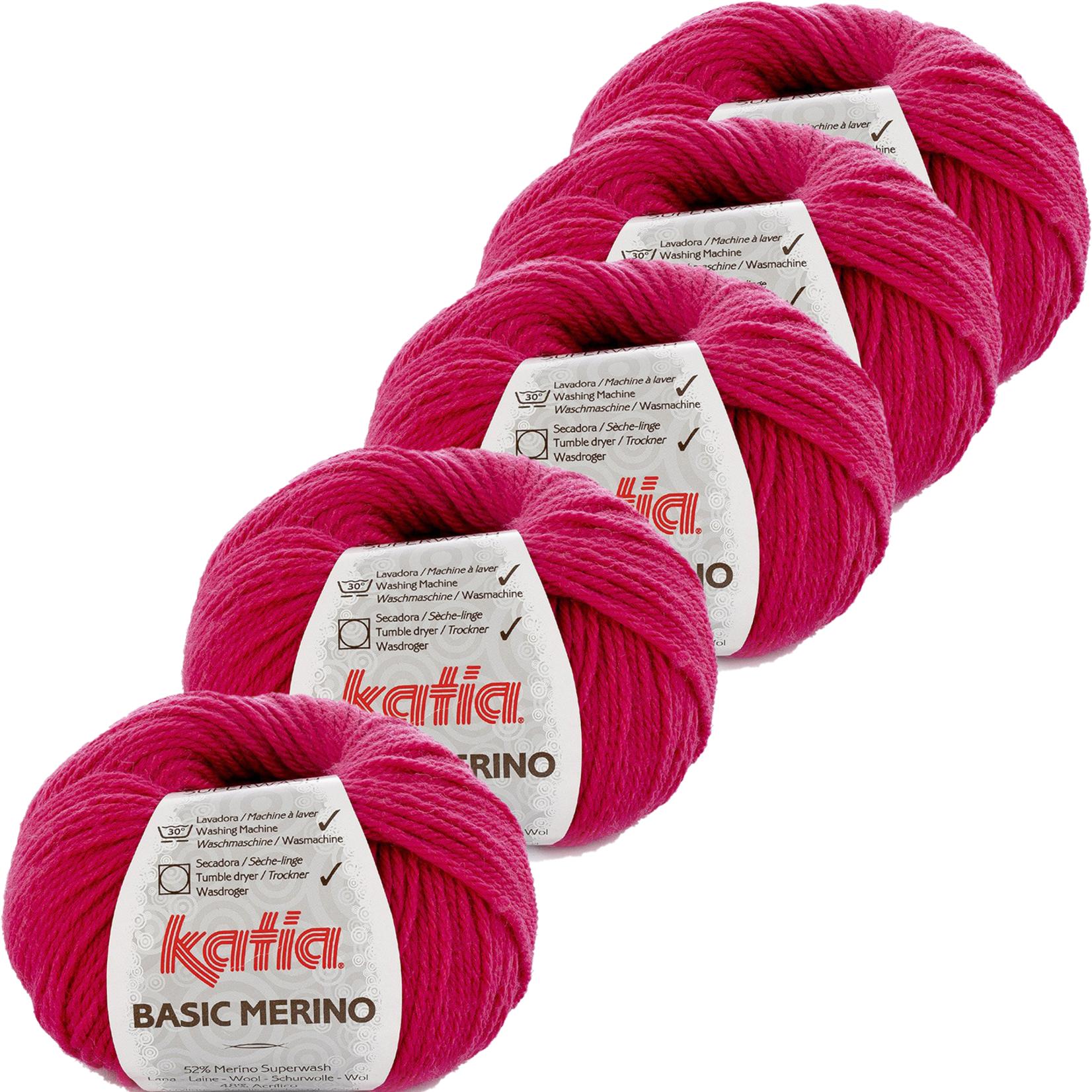 Katia Basic Merino - kleur 40_Licht fuchsia - bundel 5 bollen 50 gr.  van 120 m.