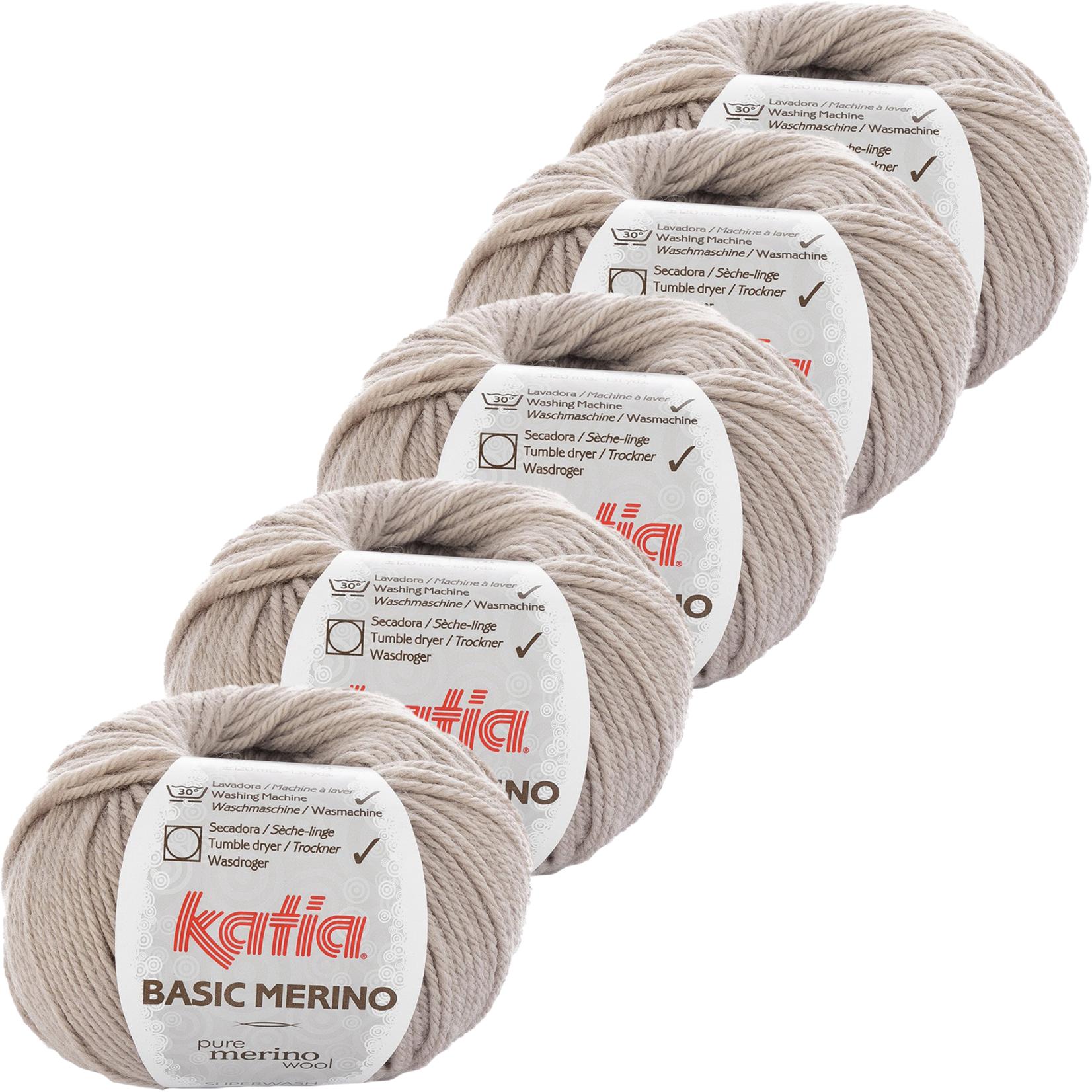Katia Basic Merino - kleur 9_Licht grijs - bundel 5 bollen 50 gr.  van 120 m.