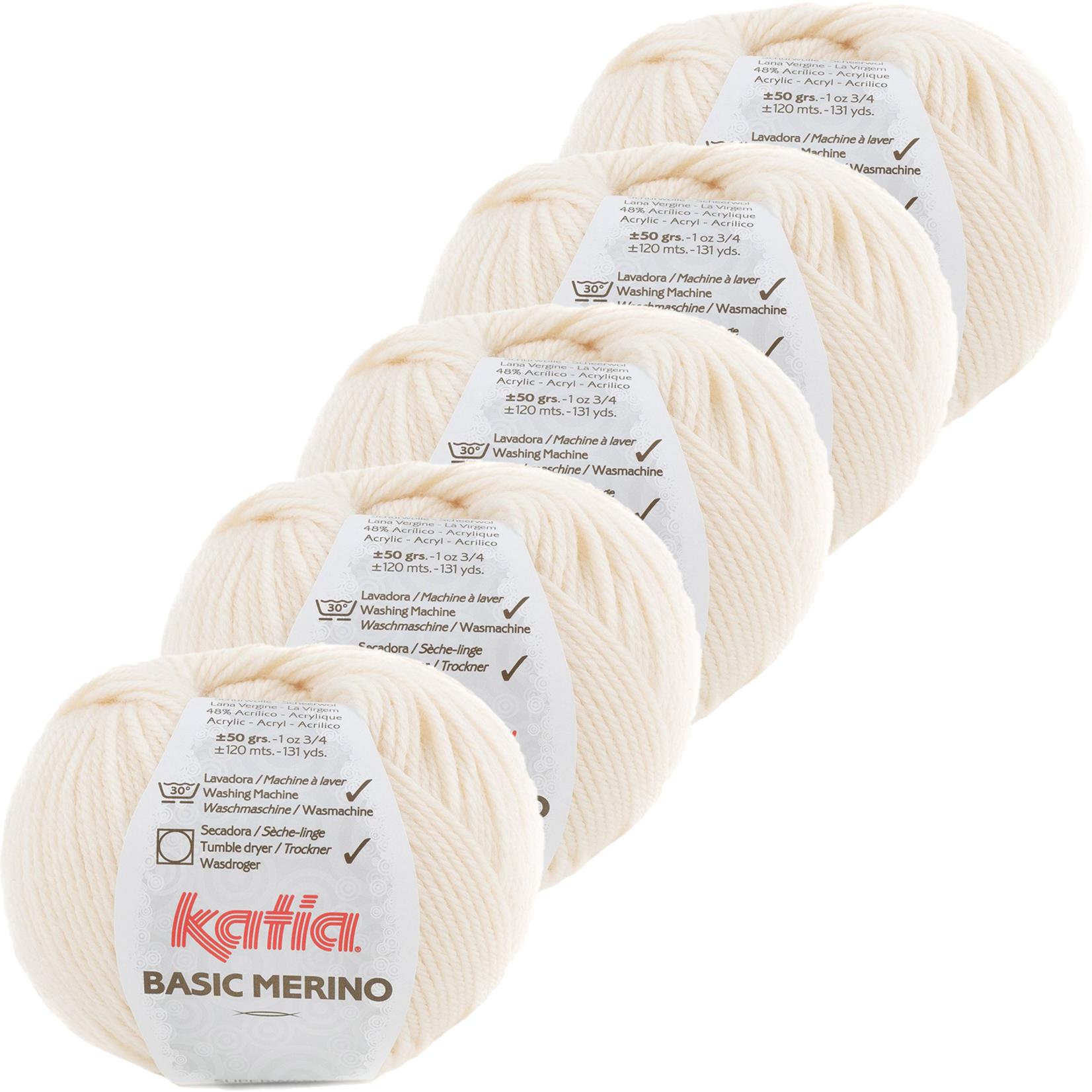 Katia Basic Merino - kleur 83_Licht ivoorkleurig - bundel 5 bollen 50 gr.  van 120 m.
