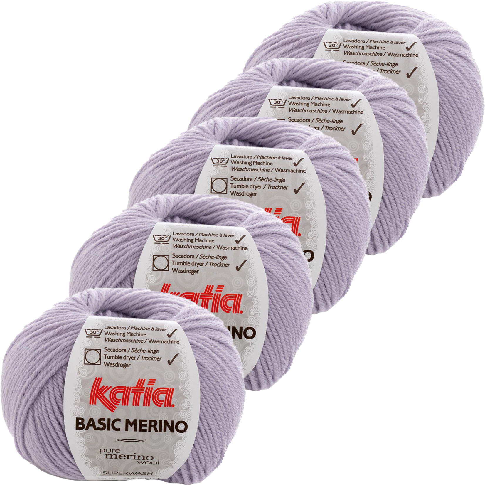 Katia Basic Merino - kleur 77_Licht lila - bundel 5 bollen 50 gr.  van 120 m.