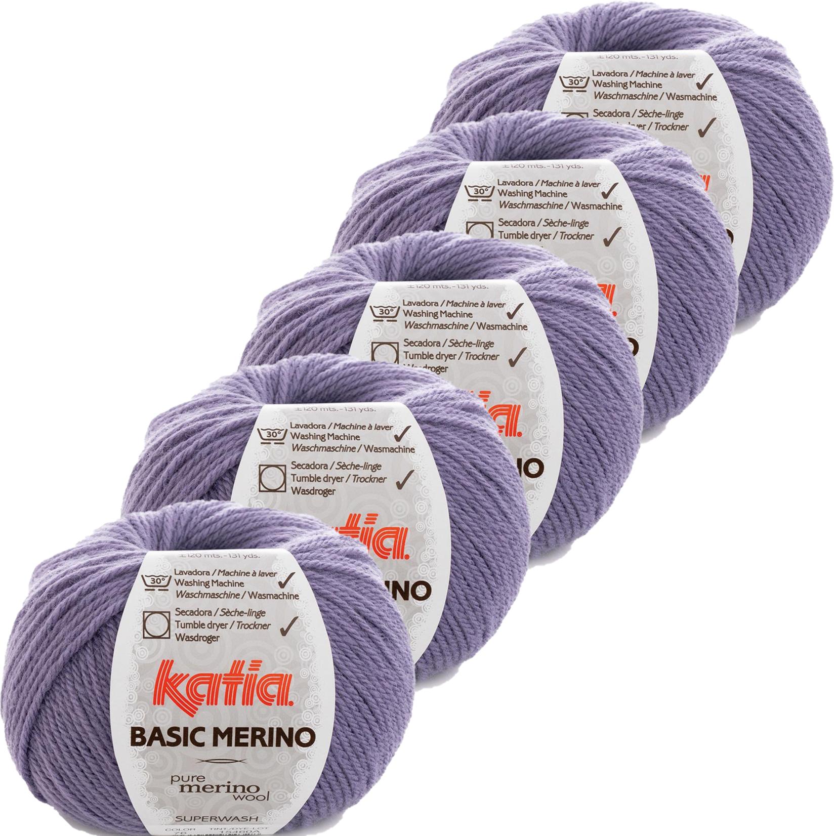 Katia Basic Merino - kleur 76_Lila - bundel 5 bollen 50 gr.  van 120 m.