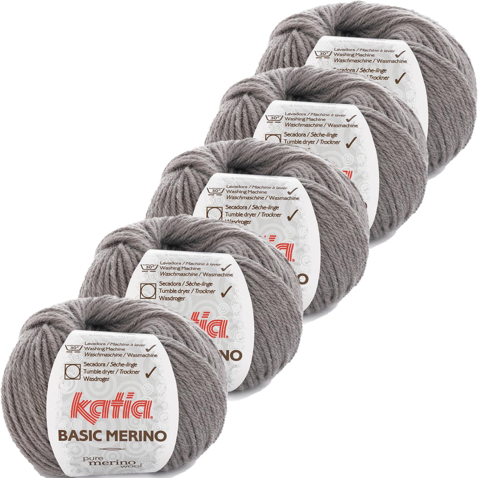 Katia Basic Merino - kleur 13_Medium grijs - bundel 5 bollen 50 gr.  van 120 m.